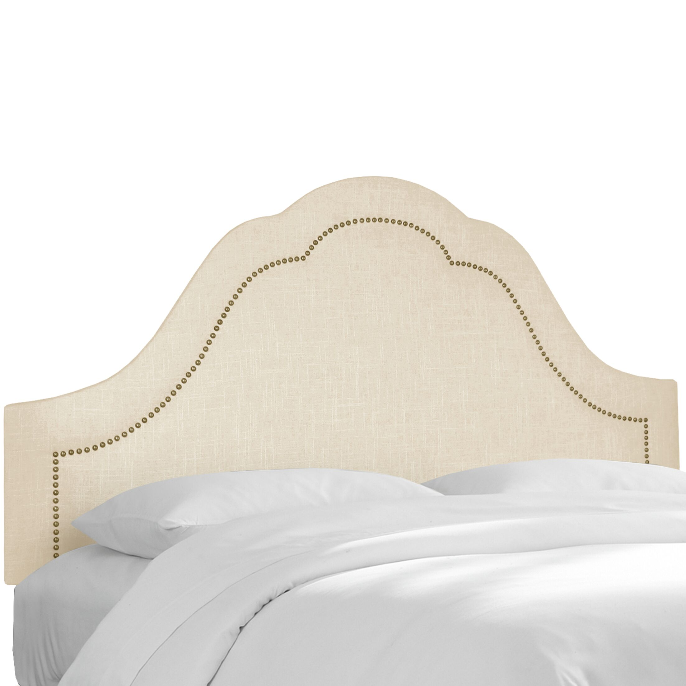 Dormody Nail Button Upholstered Panel Headboard Color: Natural, Size: King