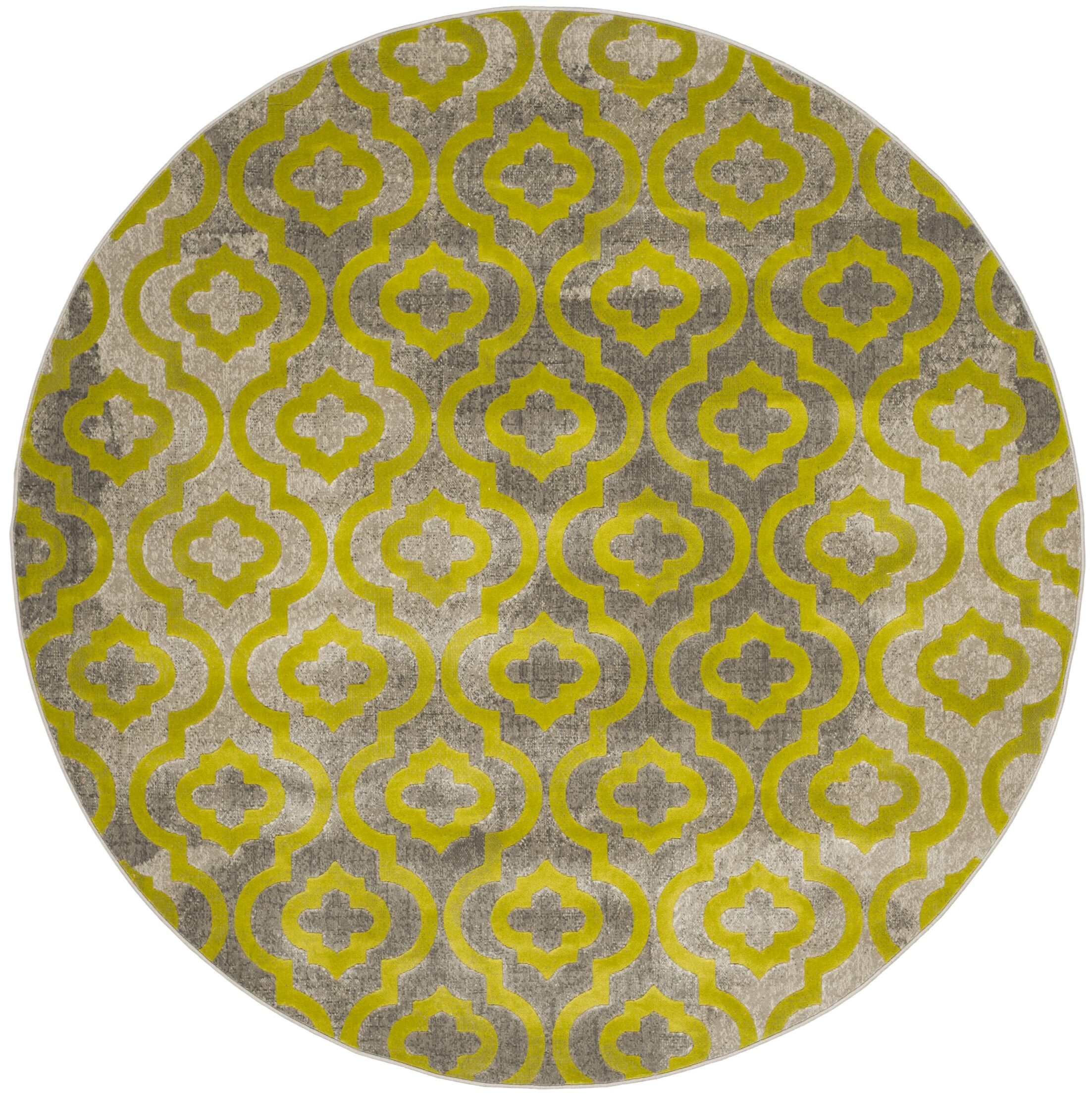 Manorhaven Light Gray/Green Area Rug Rug Size: Round 6'7