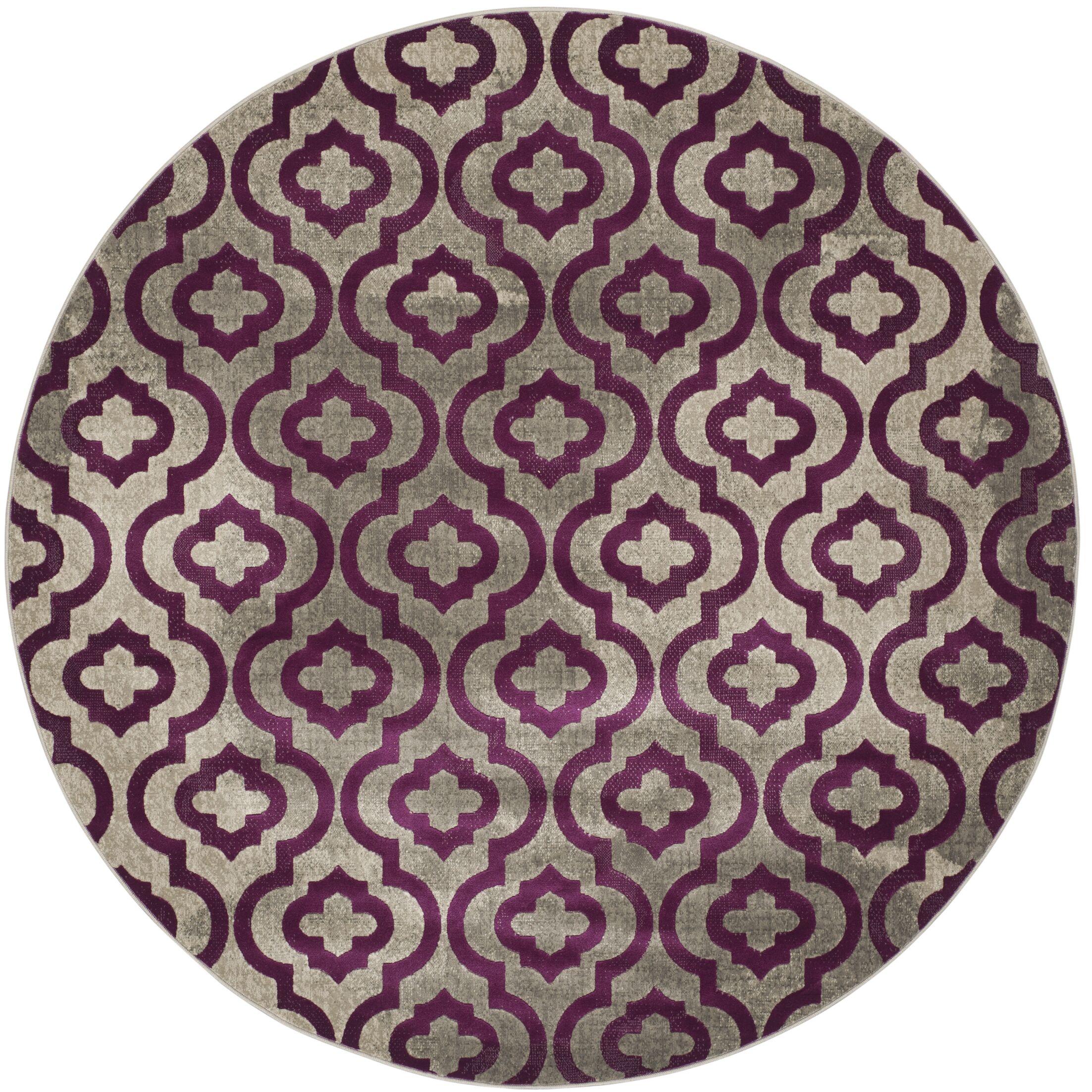 Manorhaven Light Gray/Purple Area Rug Rug Size: Round 6'7