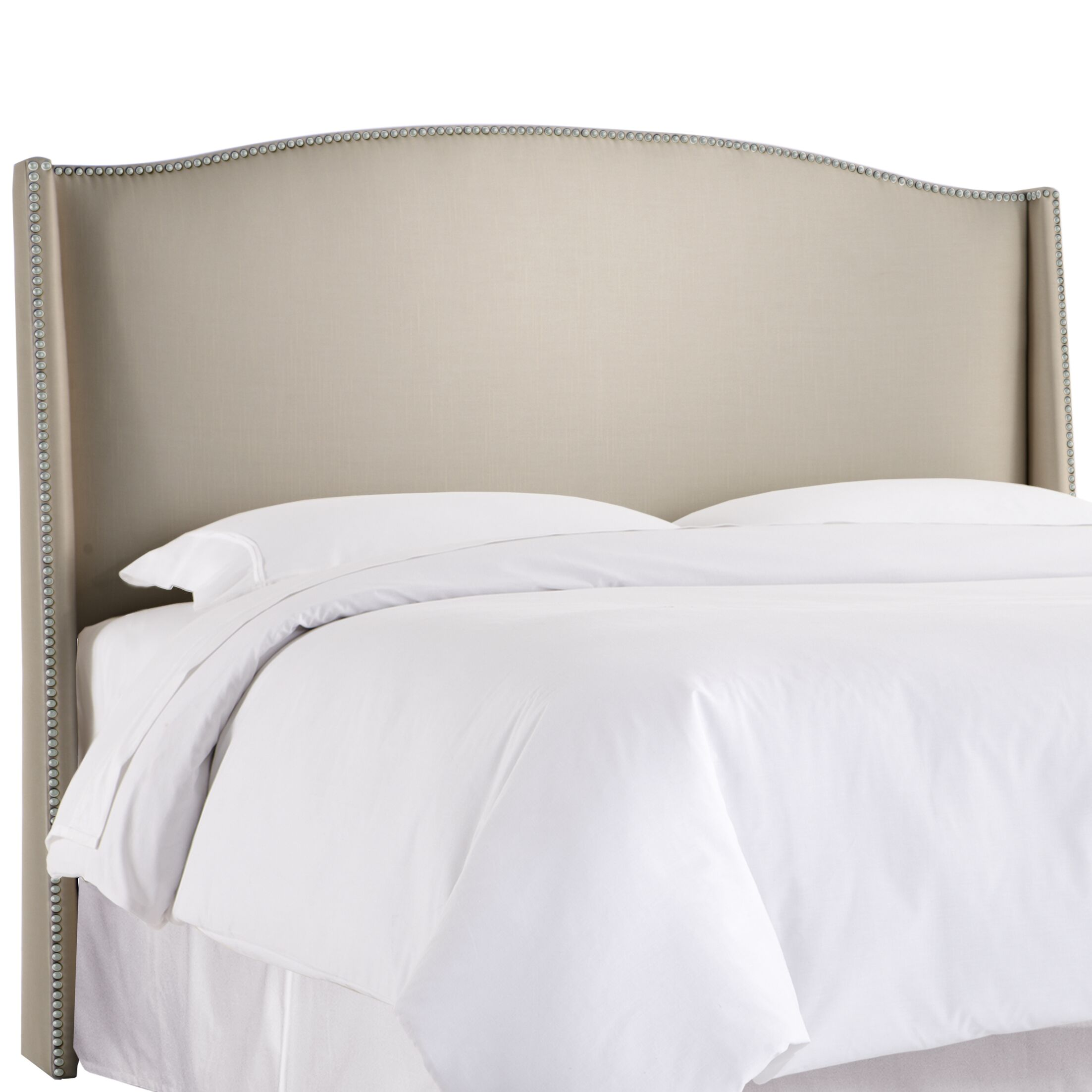 Gisela Nail Button Upholstered Wingback Headboard Size: California King, Upholstery: Shantung Dove