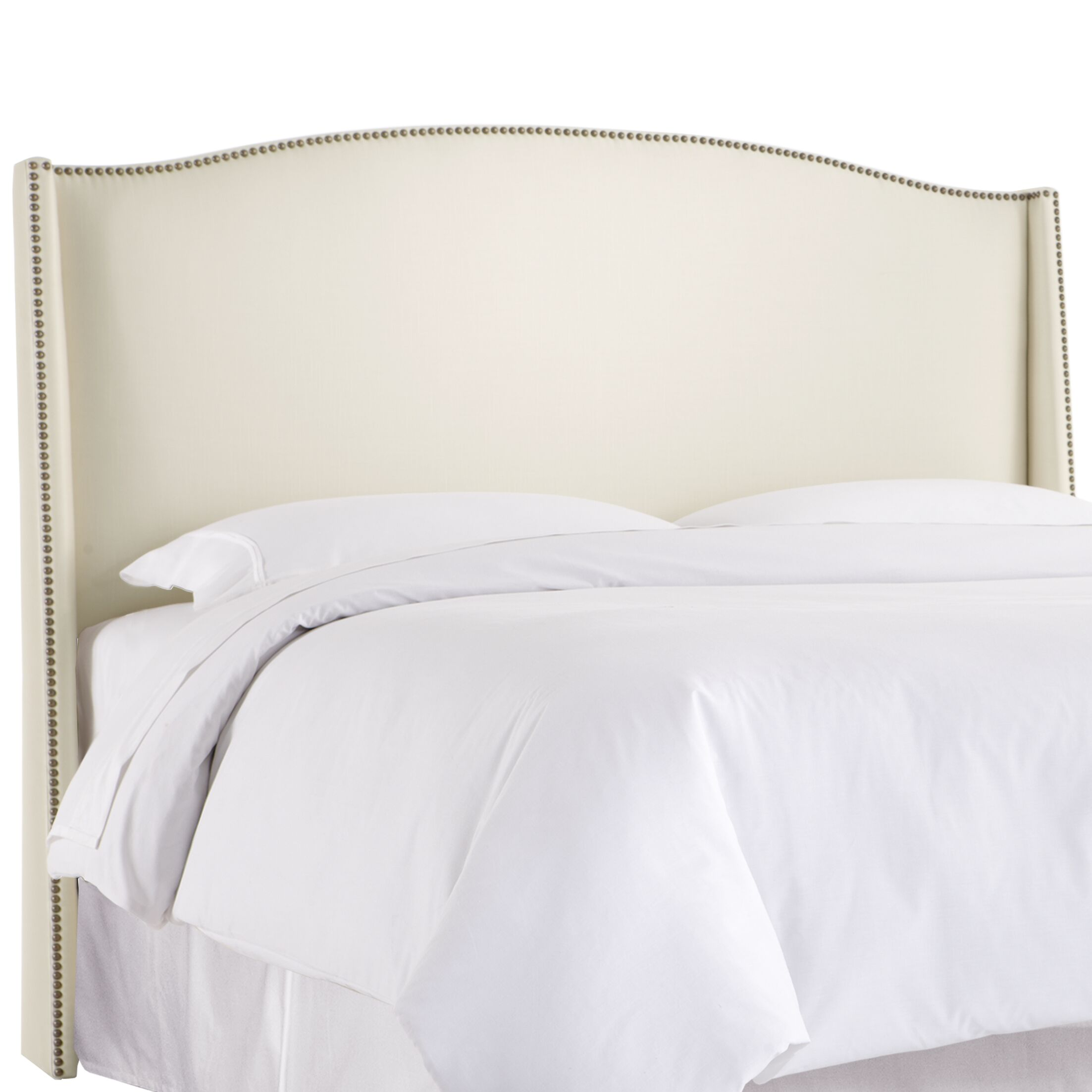 Gisela Nail Button Upholstered Wingback Headboard Size: Full, Upholstery: Shantung Parchment