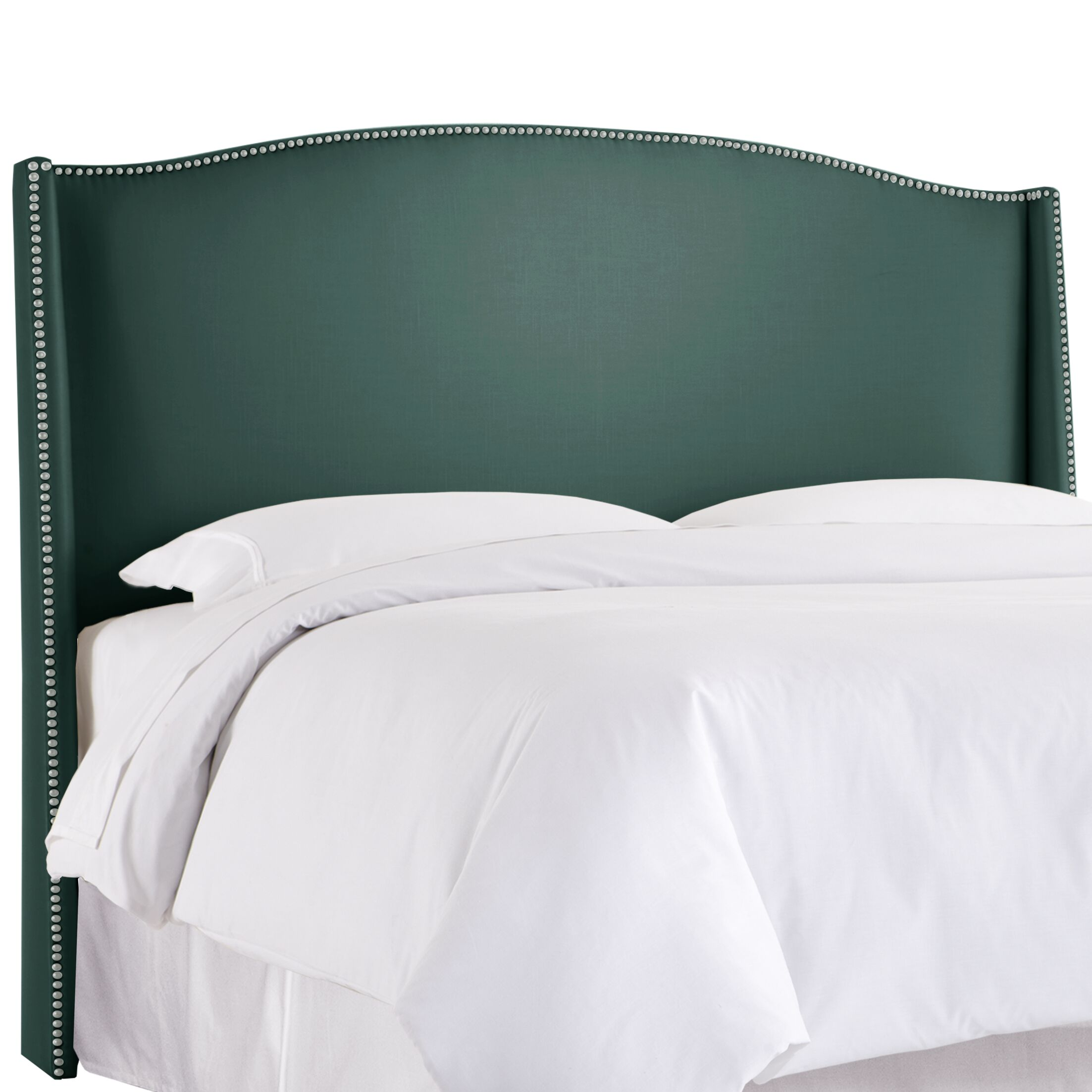 Gisela Nail Button Upholstered Wingback Headboard Size: King, Upholstery: Shantung Peacock