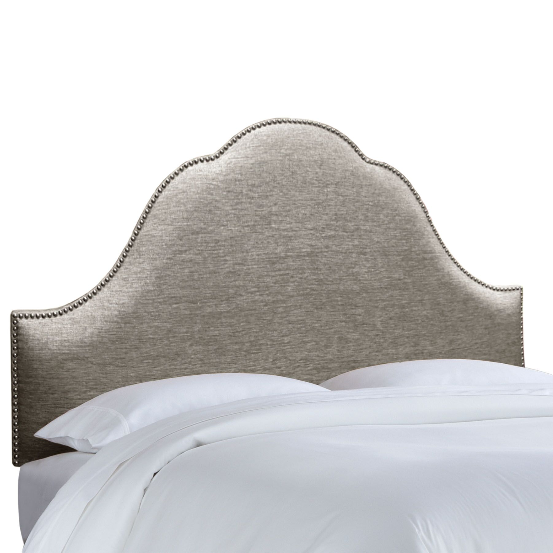 Brighton Nail Button Upholstered Panel Headboard Size: Twin, Upholstery: Groupie Pewter