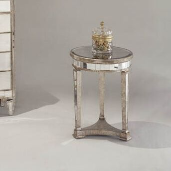 Roehl Mirrored End Table in Antique Silver