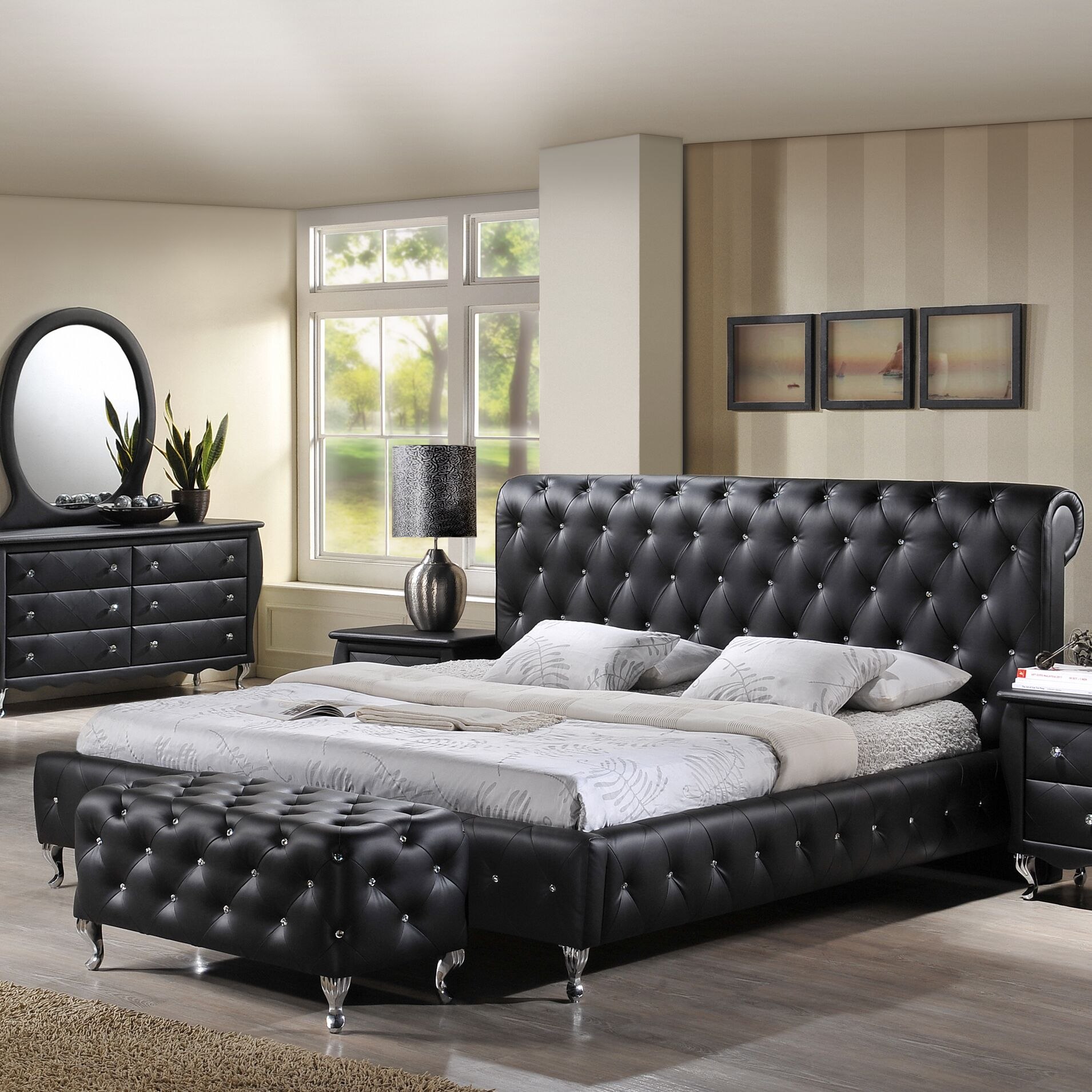 Ridgeway Upholstered Platform Bed Size: California King, Color: Black