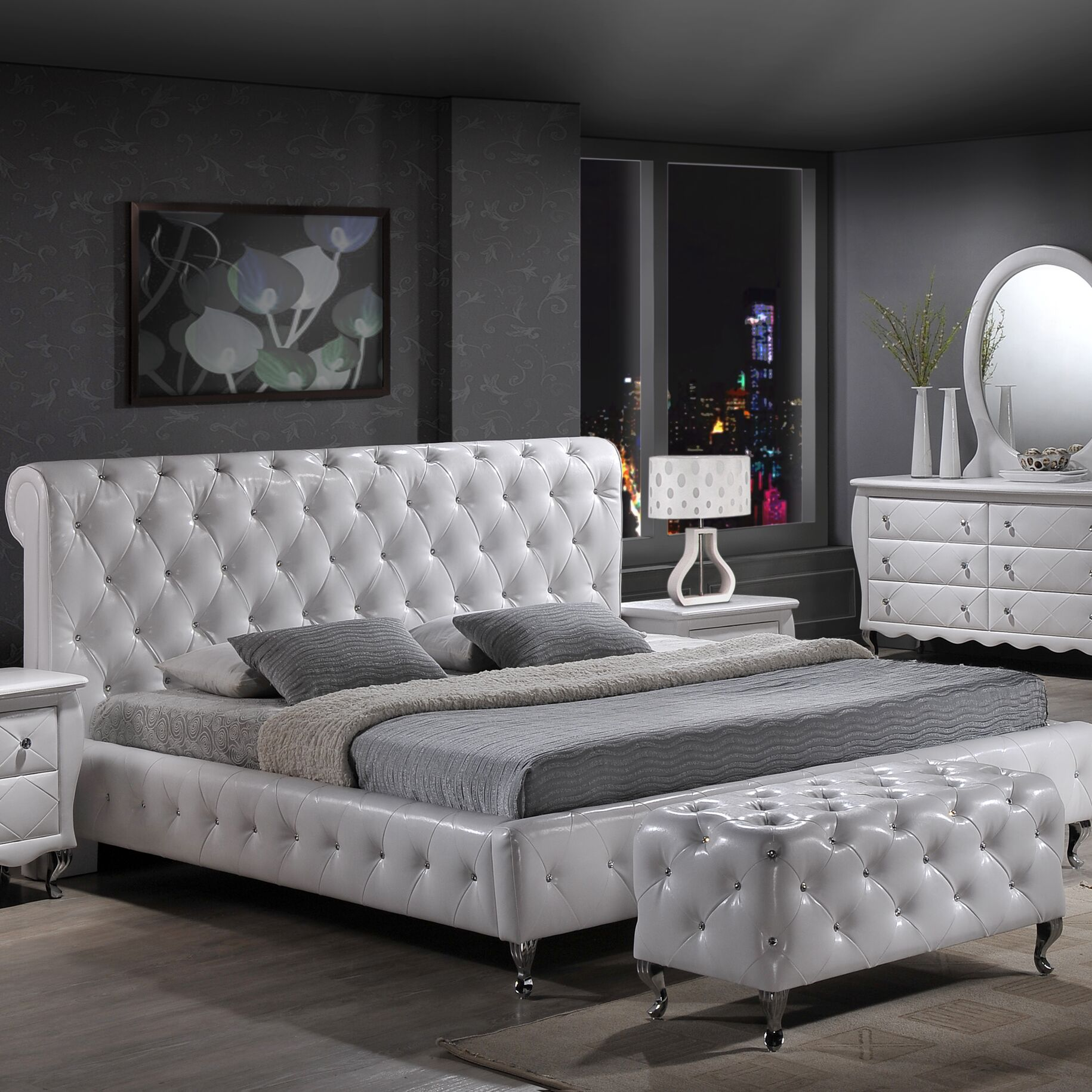 Ridgeway Upholstered Platform Bed Size: Queen, Color: White