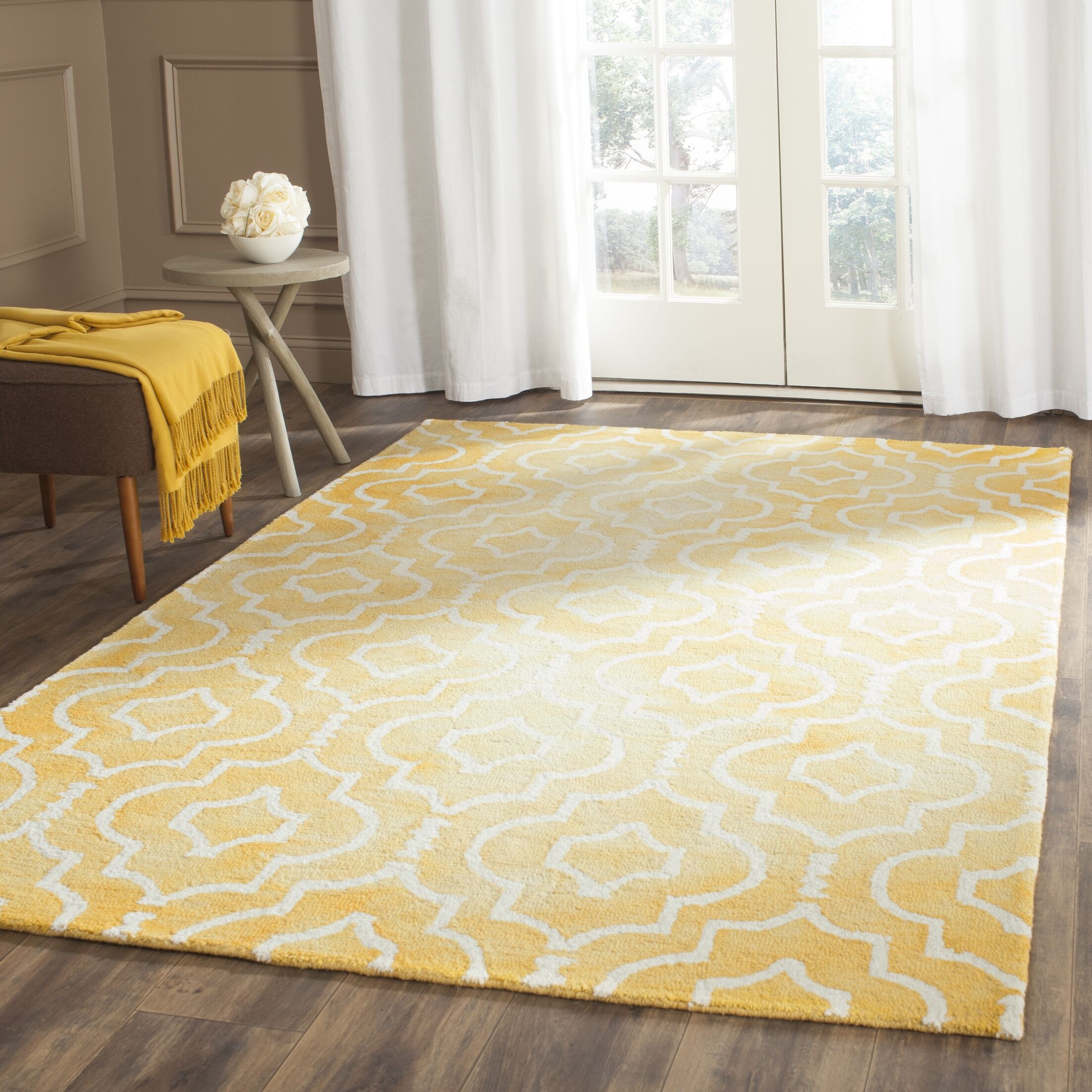 Hand-Tufted Gold/Ivory Area Rug Rug Size: Runner 2'3
