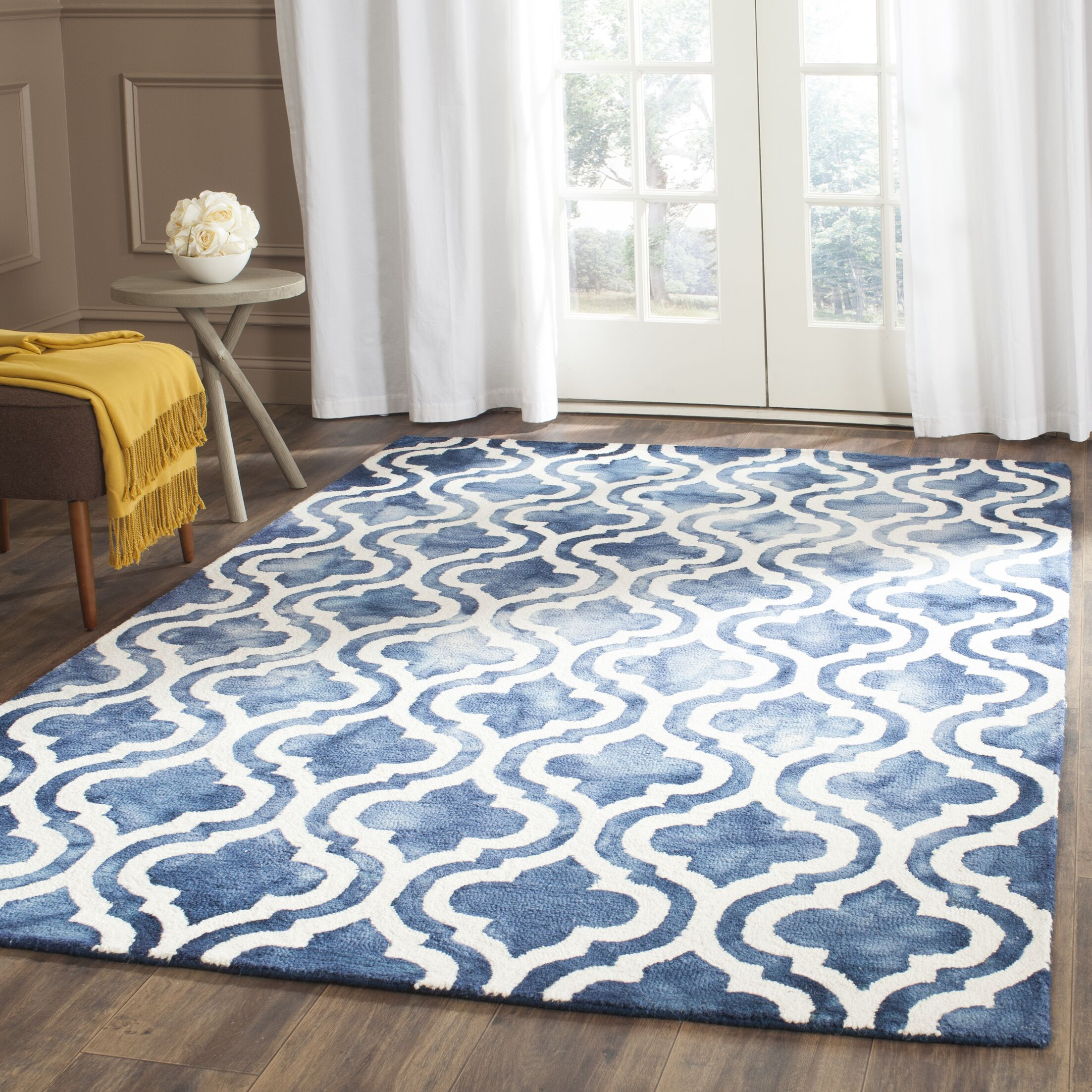 Bettina Hand-Tufted Wool Navy Area Rug Rug Size: Square 7'