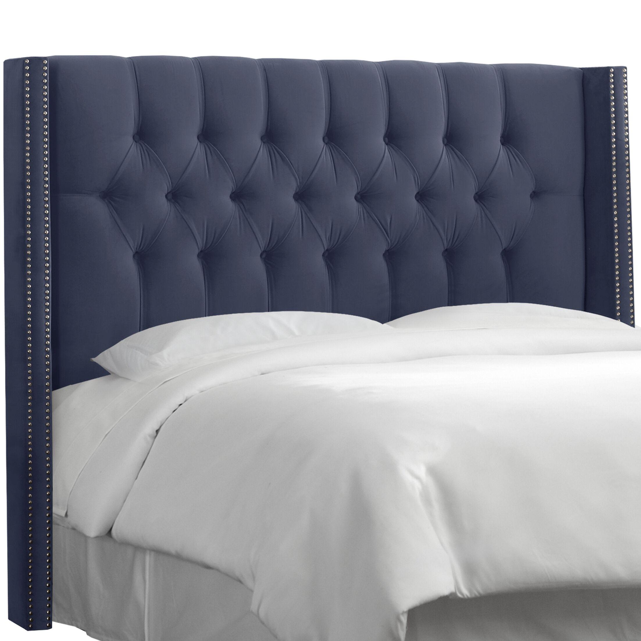 Aura Traditional Diamond Tufted Upholstered Wingback Headboard Size: Full, Upholstery: Regal Ocean