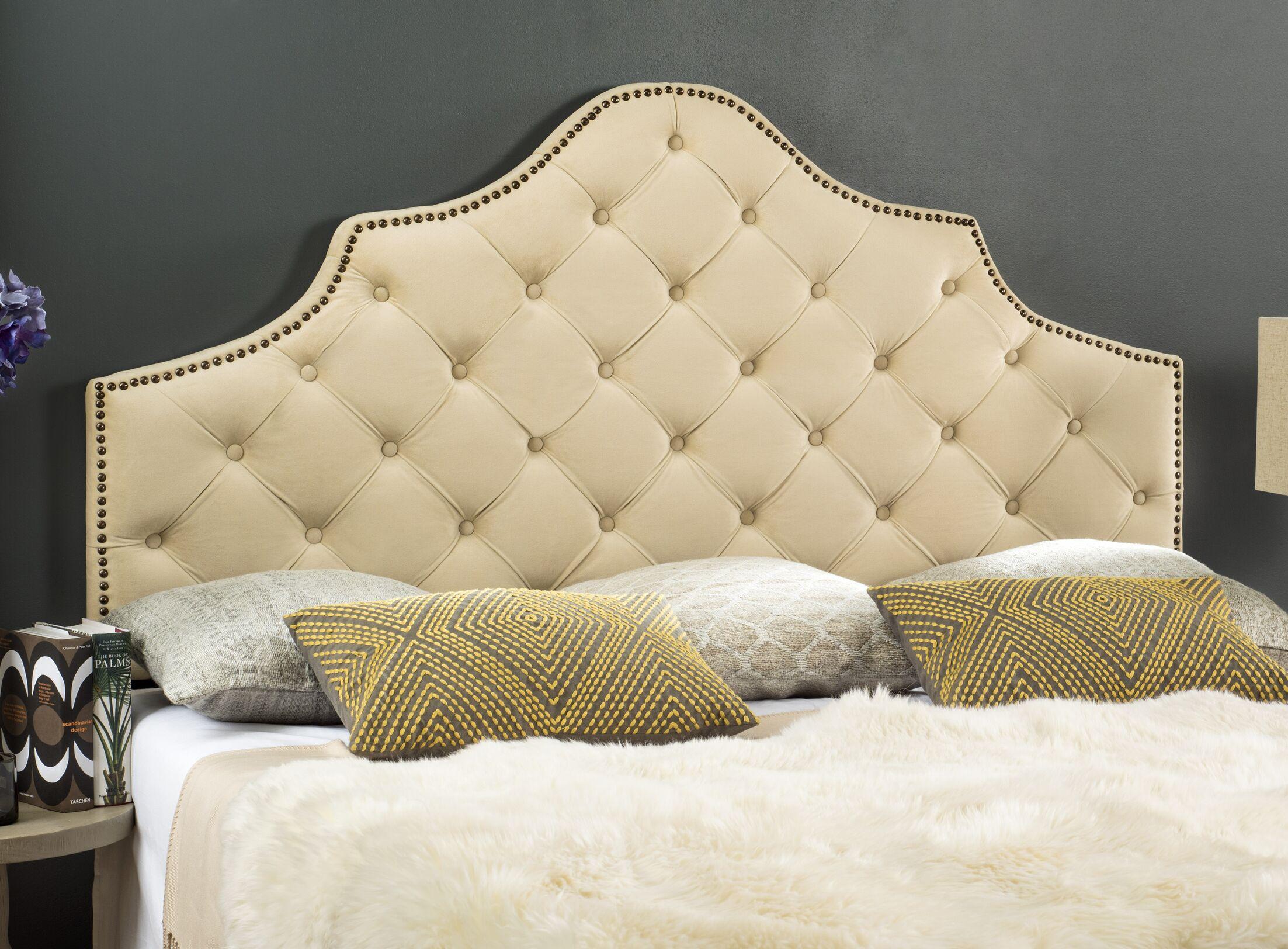 Christophe Upholstered Panel Headboard Color: Buckwheat, Size: Queen, Upholstery: Velvet