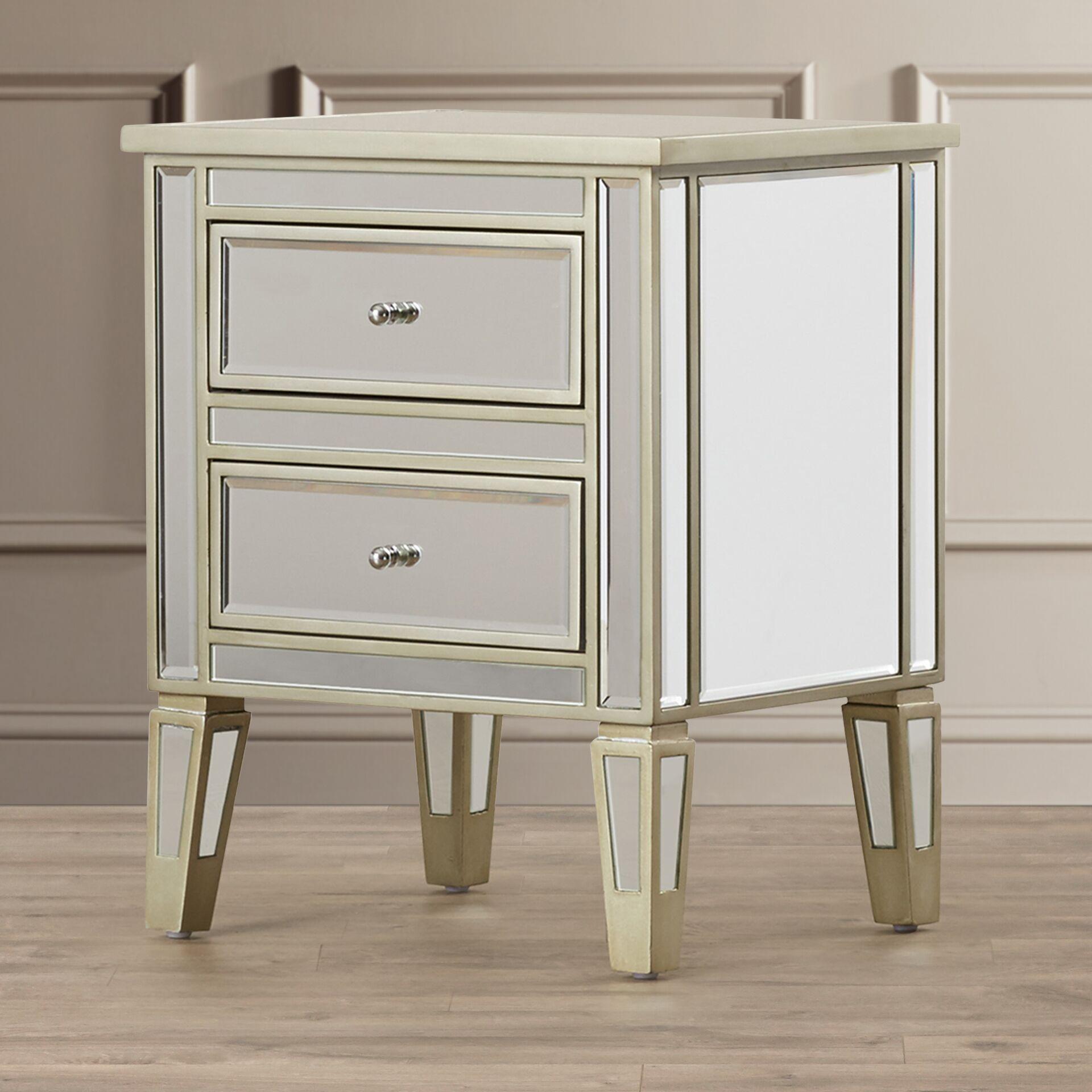 Borkholder Mirrored 2 Drawer End Table