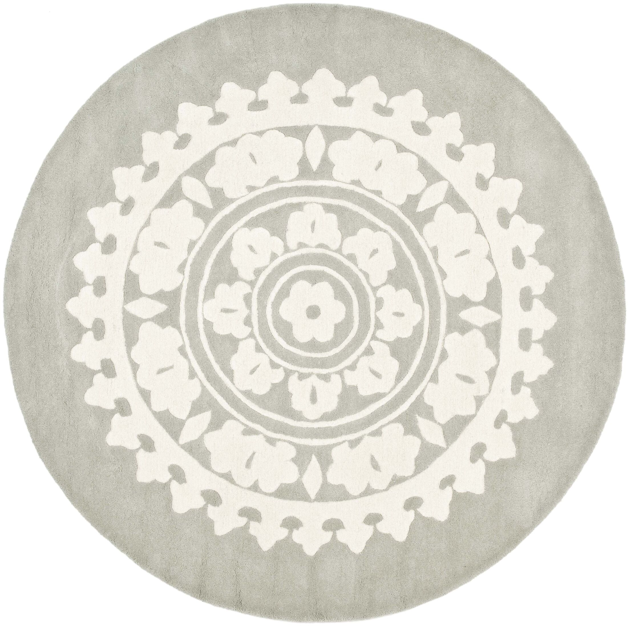 Hawley Hand-Woven Gray Area Rug Rug Size: Round 8'