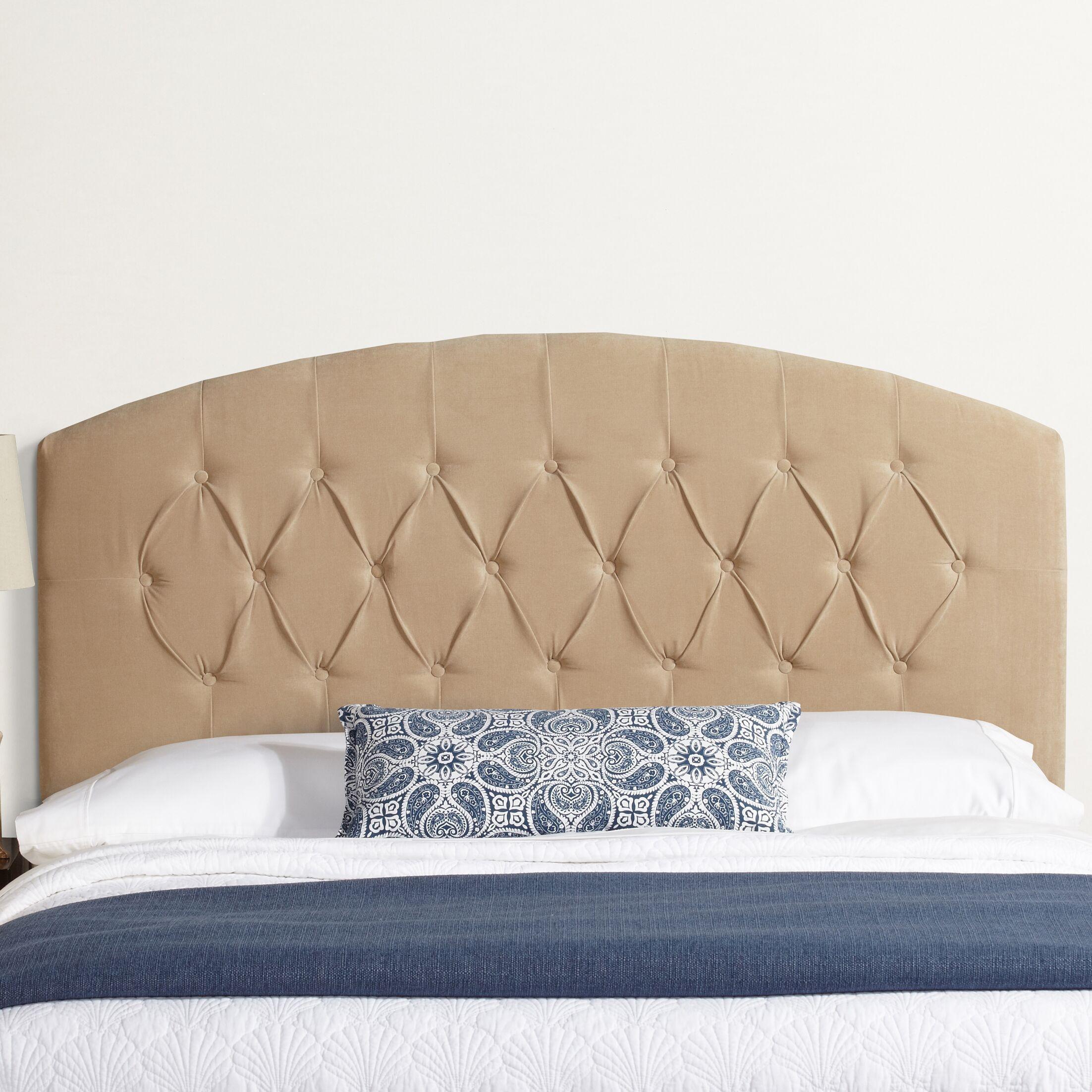Lesa Curved Upholstered Headboard Size: Queen, Upholstery: Sand Velvet
