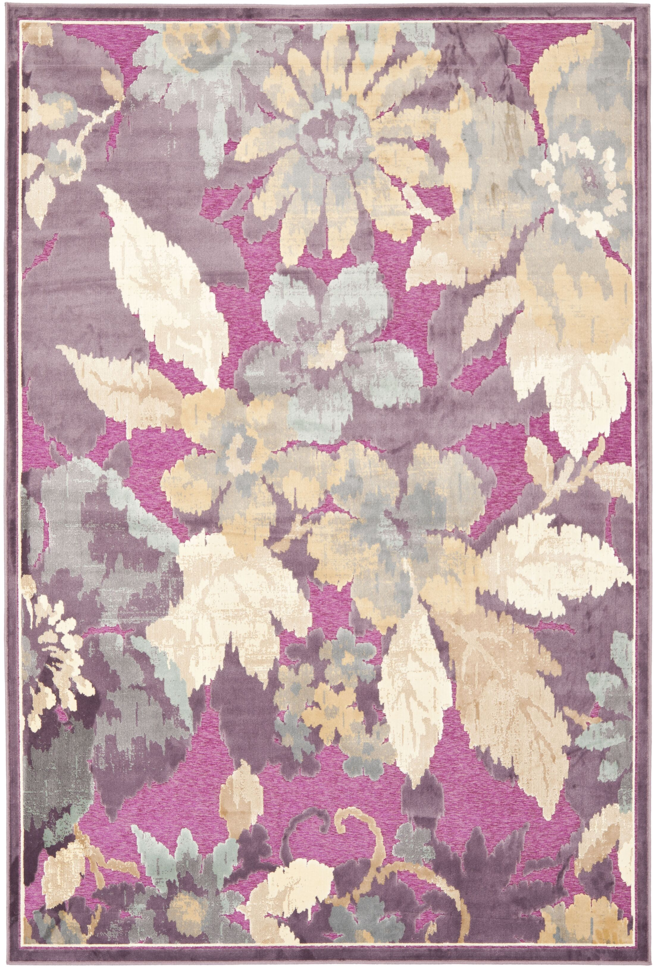 Berloz Purple/Fuchisa Area Rug Rug Size: Rectangle 3'3