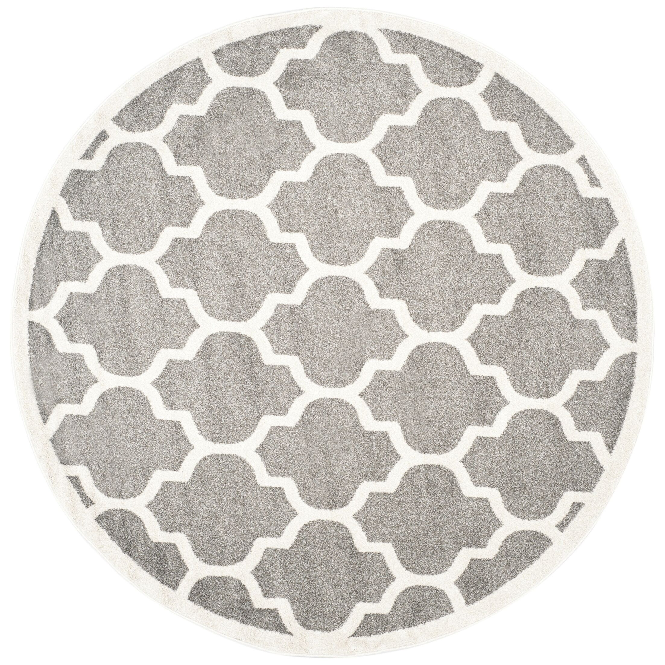 Maritza Trellis Dark Grey/Beige Area Rug Rug Size: Round 5'