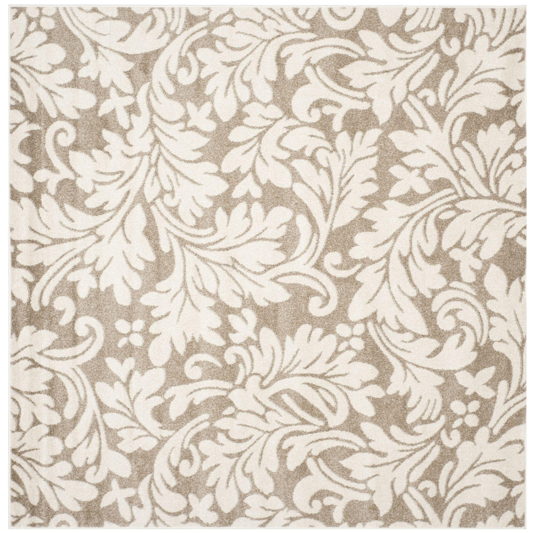 Maritza Floral Dark Grey/Beige Area Rug Rug Size: Square 9'