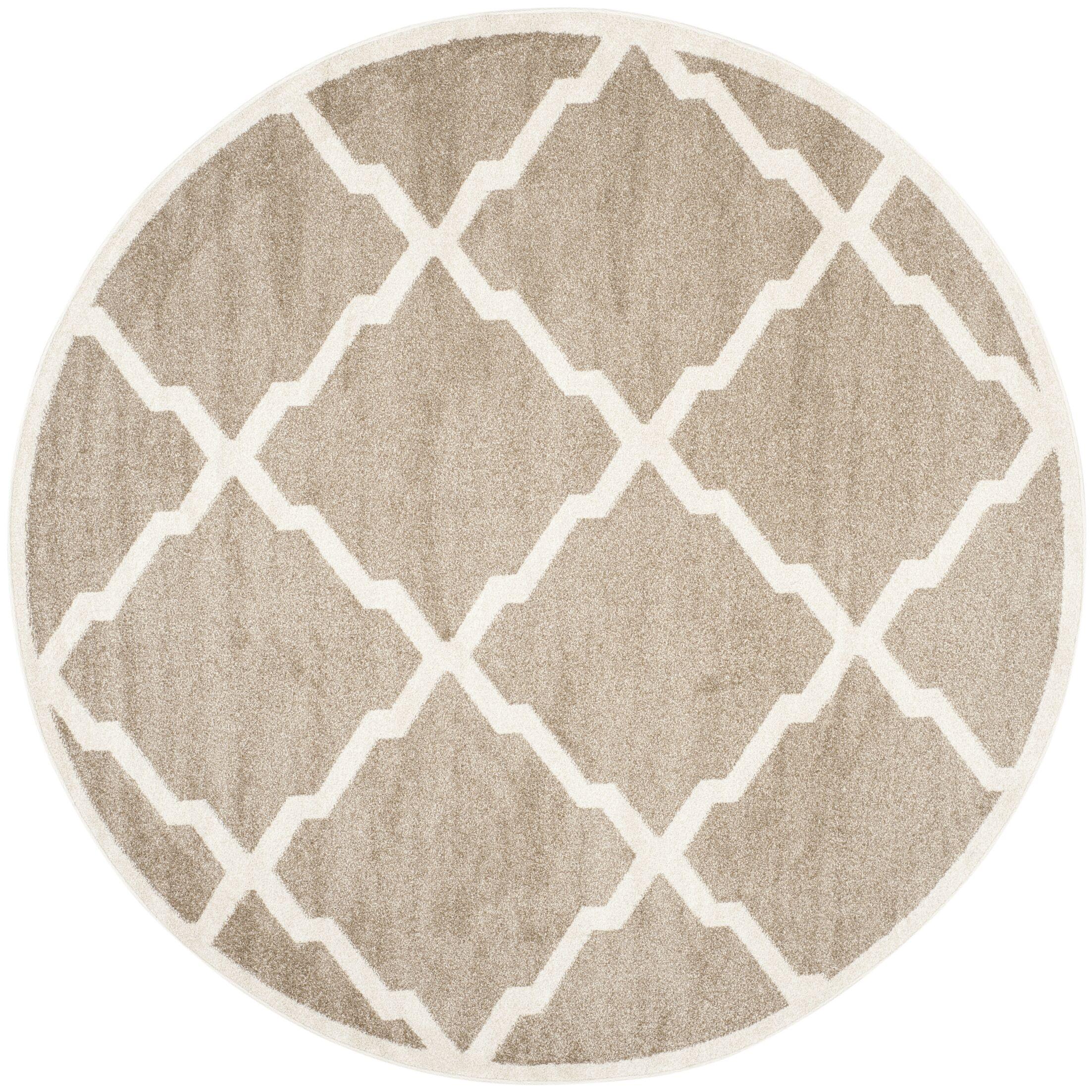 Maritza Trellis Wheat/Beige Indoor/Outdoor Area Rug Rug Size: Round 7'