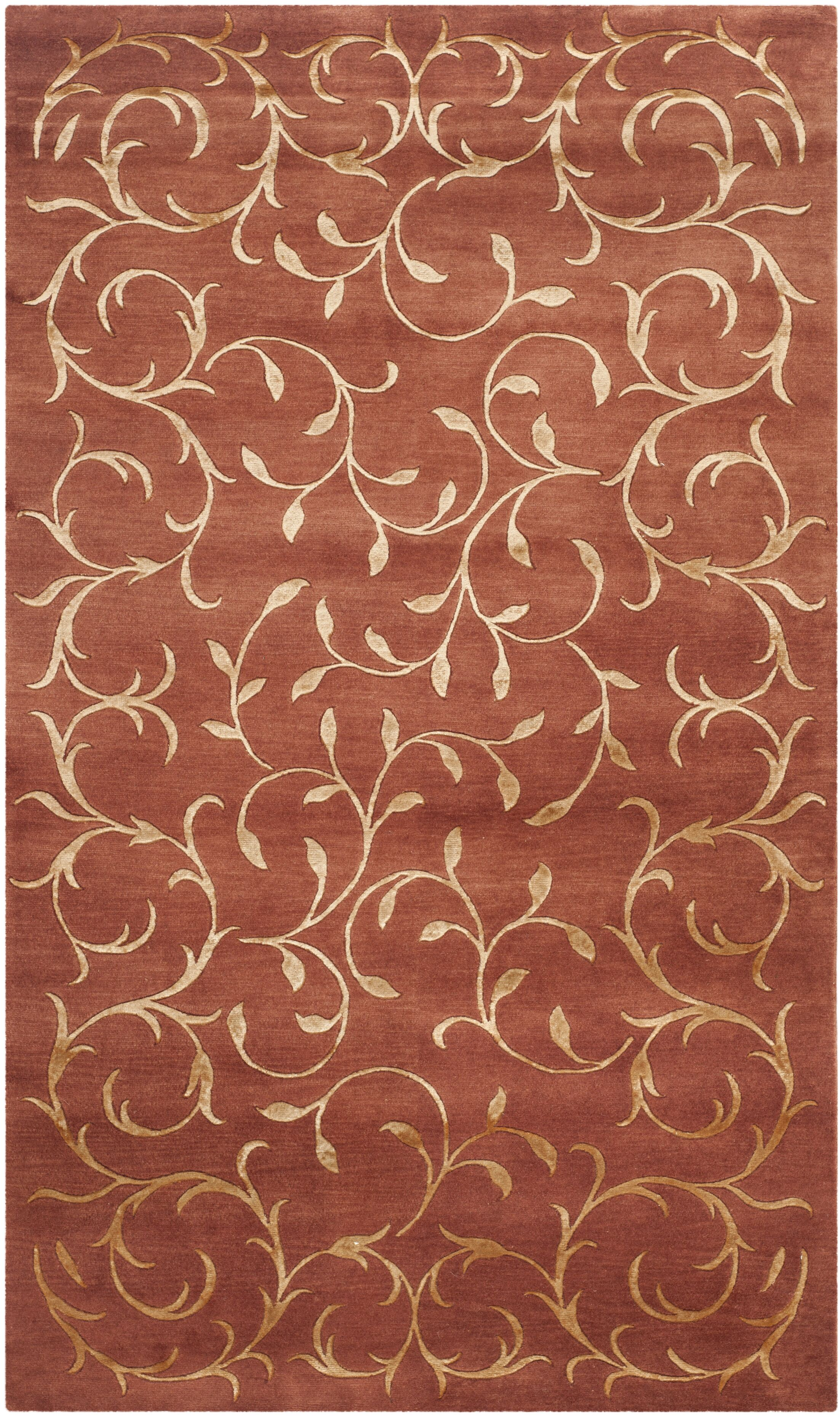 Echevarria Hand-Knotted Rust/Gold Area Rug Rug Size: Rectangle 3' x 5'