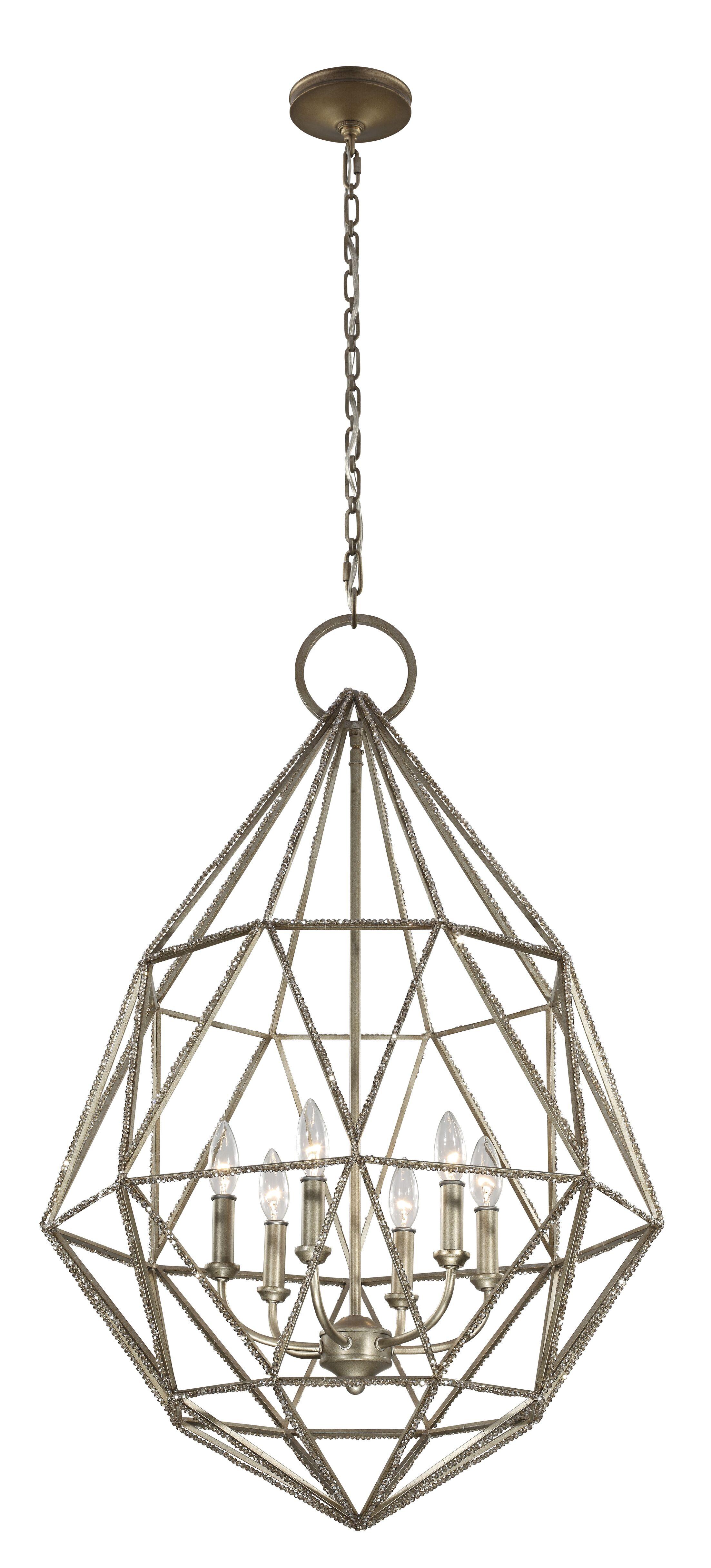 Dyana 6-Light Geometric Chandelier Finish: Silver