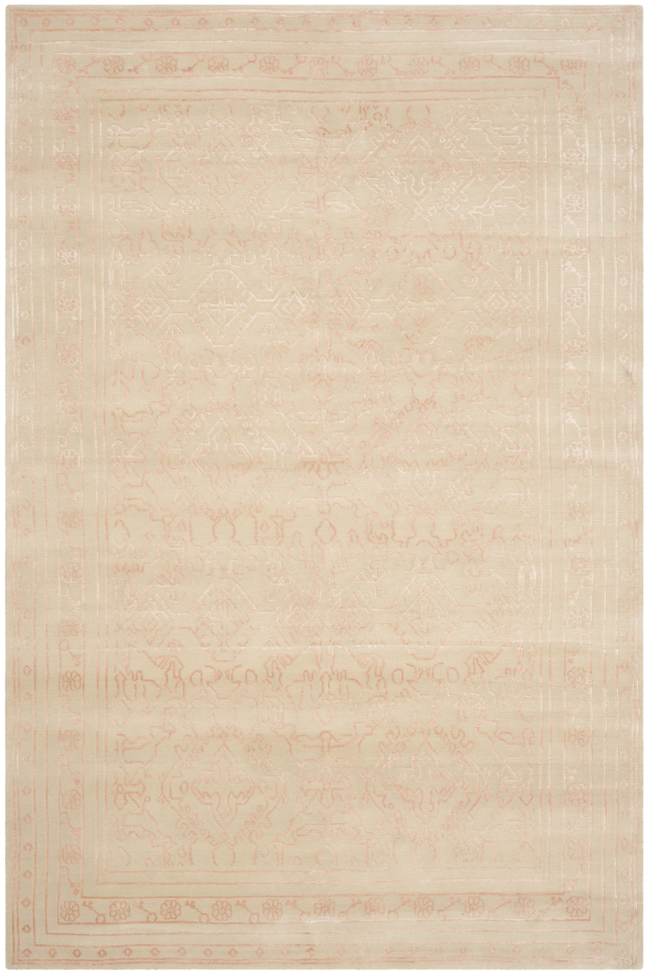 Exmouth Hand-Knotted Cream/Pink Area Rug Rug Size: Rectangle 3' x 5'