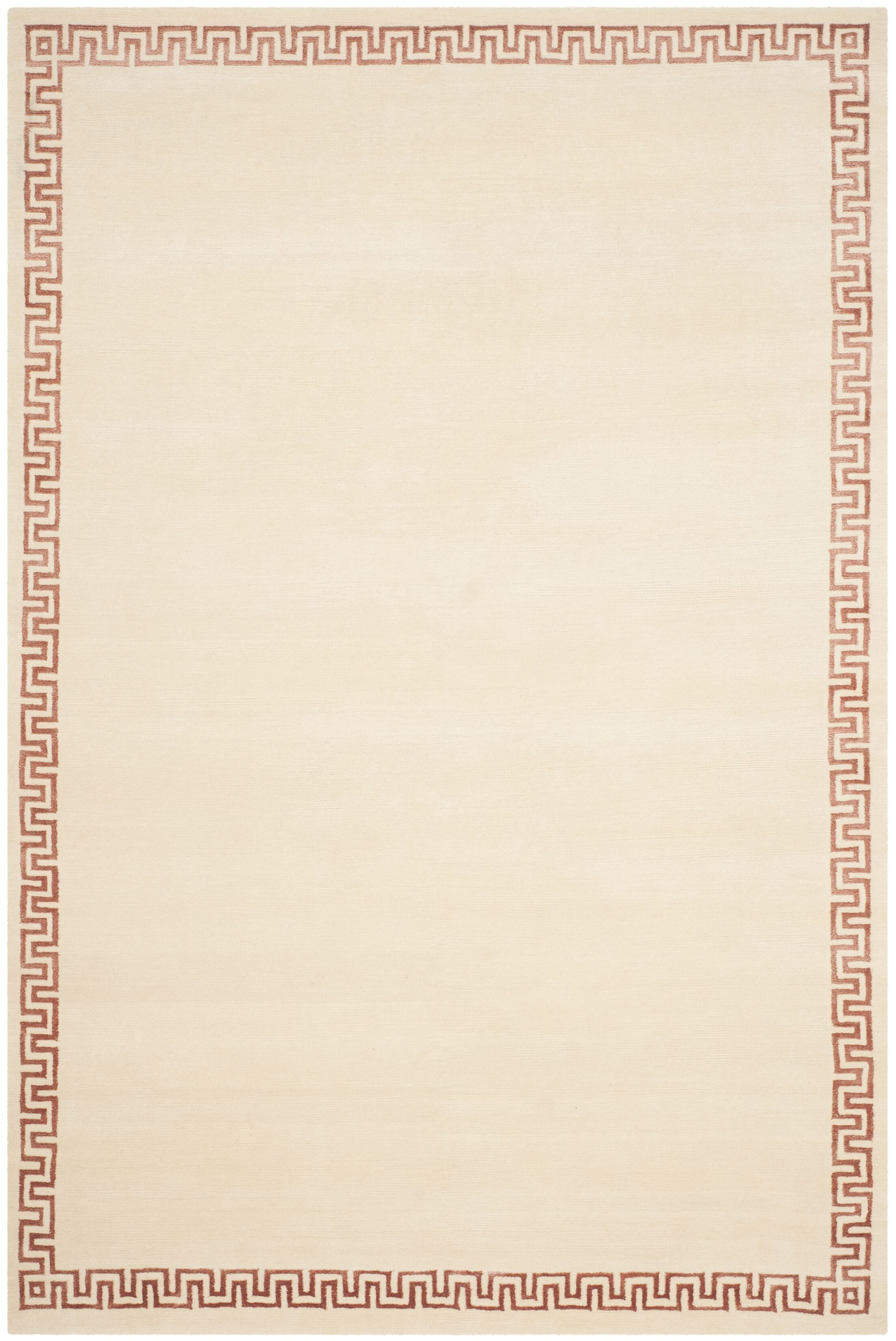 Exmouth Hand-Knotted Cream Area Rug Rug Size: Rectangle 9' x 12'