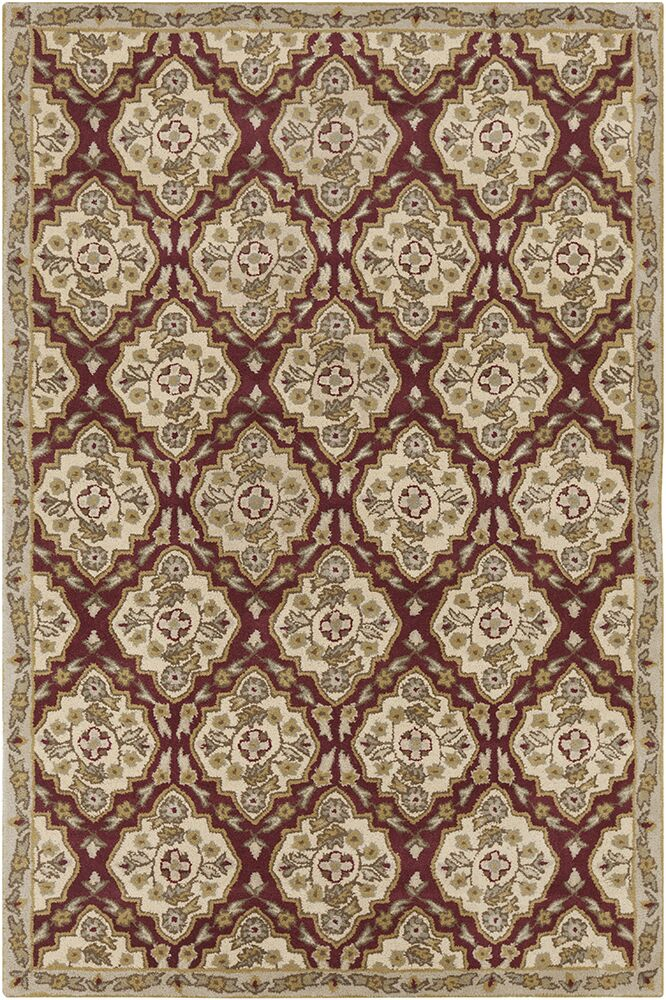 Jethro Hand Tufted Wool Cream/Burgundy Area Rug Rug Size: 8' x 10'