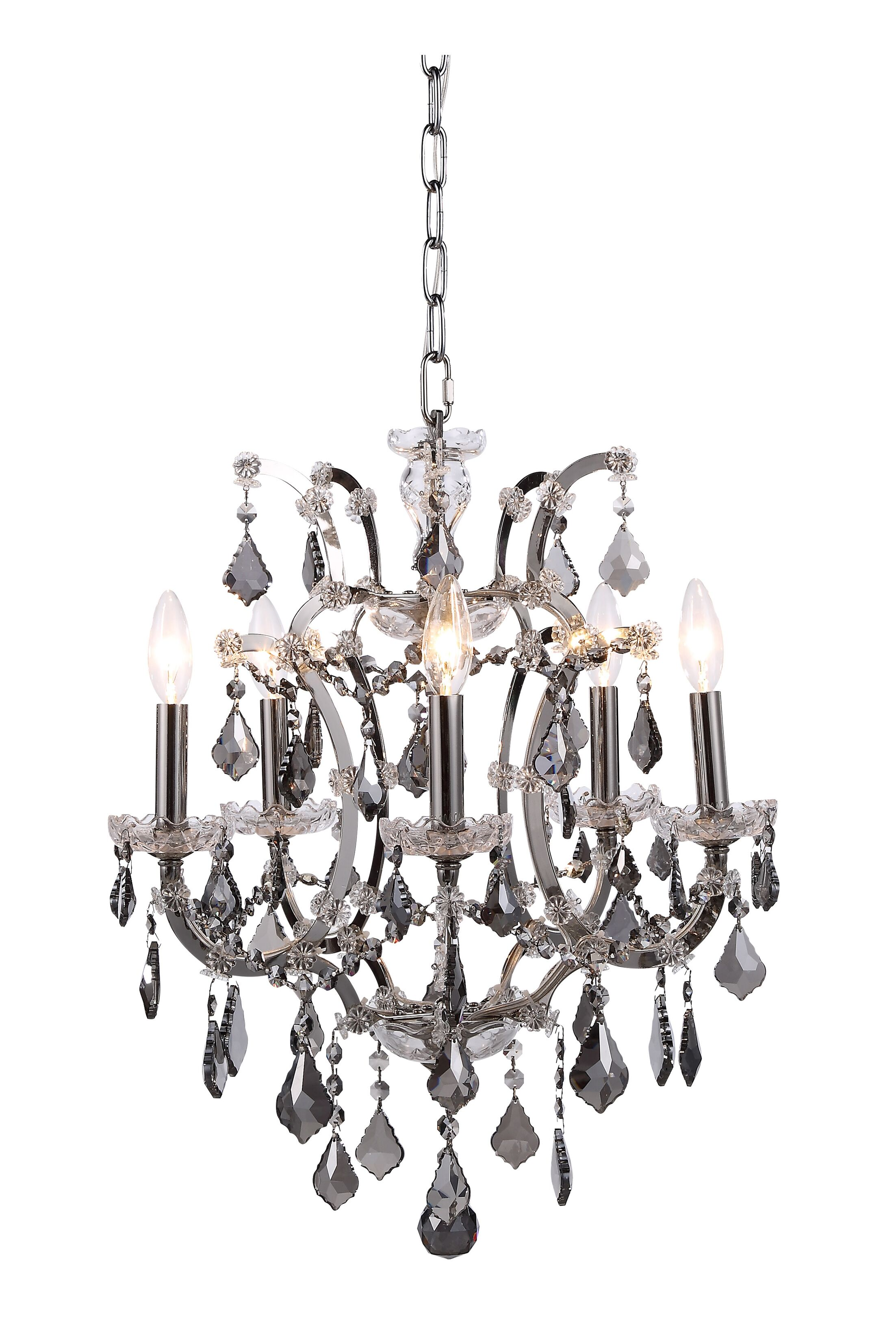 Newell 5-Light Candle Style Chandelier Finish: Rustic Intent, Shade Color: Grey