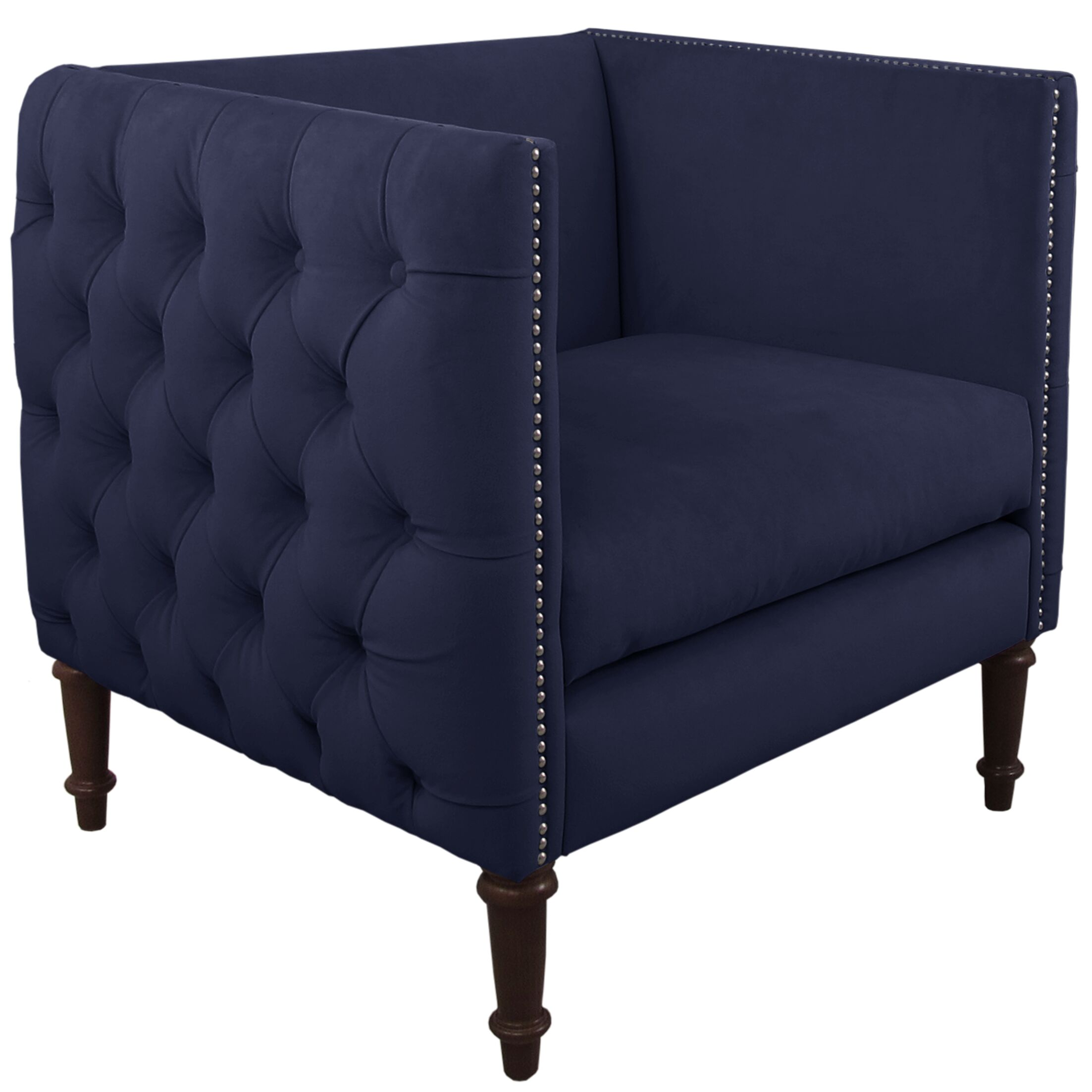 Lyric Nail Button Armchair Upholstery: Regal Navy, Nailhead Detail: Pewter Nailhead