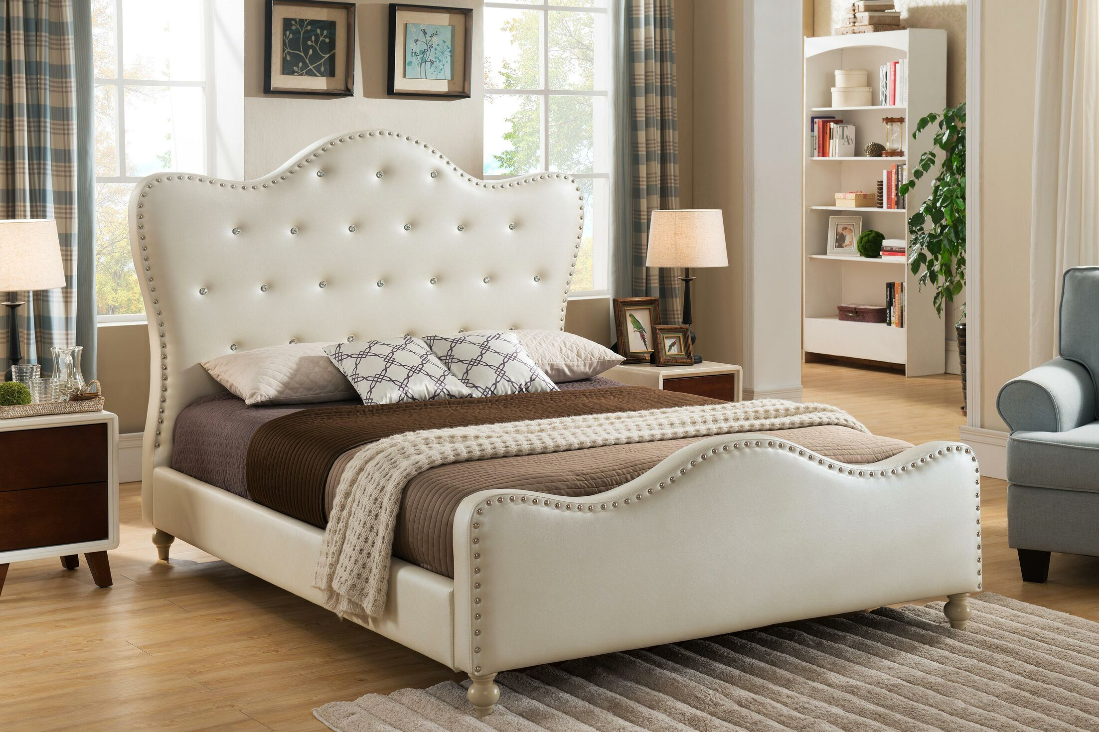 Ackman Upholstered Platform Bed Color: Ivory, Size: Twin