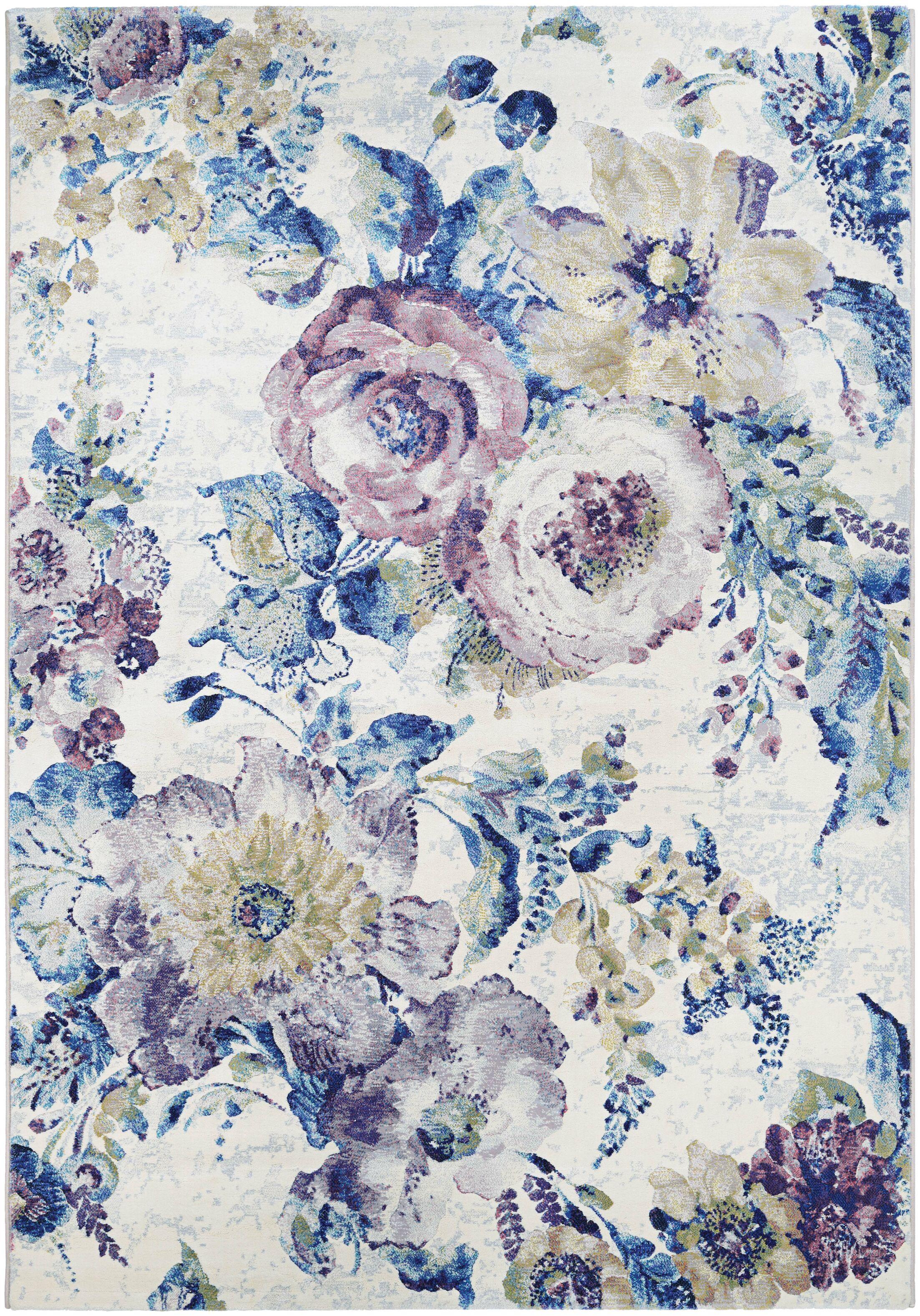 Nicole Bone/Ocean Blue Area Rug Rug Size: Rectangle 3'11