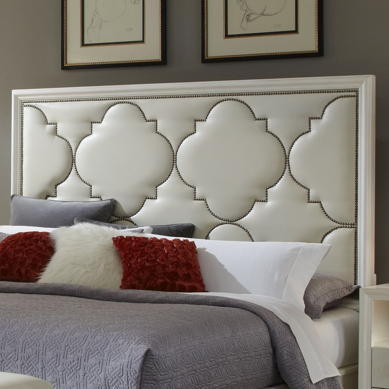 Upholstered Panel Headboard Size: King, Color: Parchment