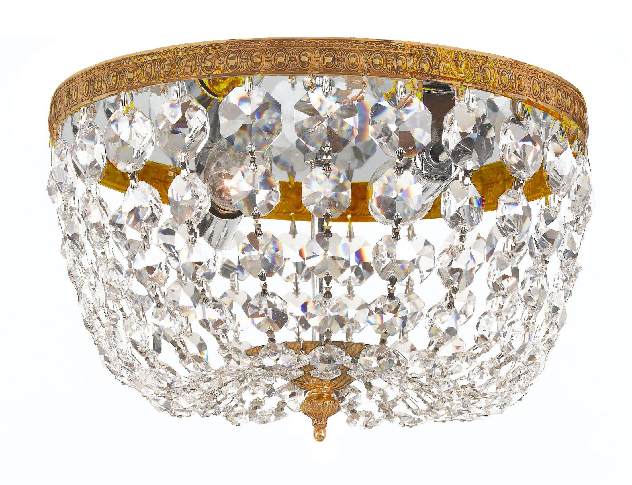 Milan 2-Light Flush Mount Finish: Olde Brass, Crystal Grade: Swarovski Strass