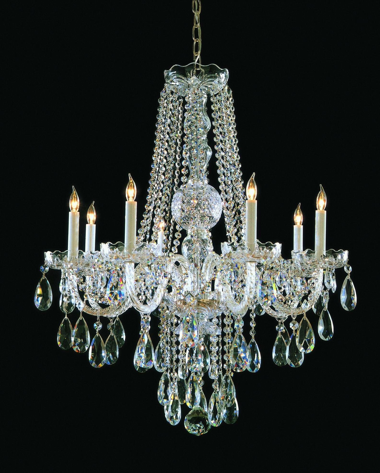 Milan 8-Light Candle Style Chandelier Finish: Polished Brass, Crystal Type: Swarovski Strass