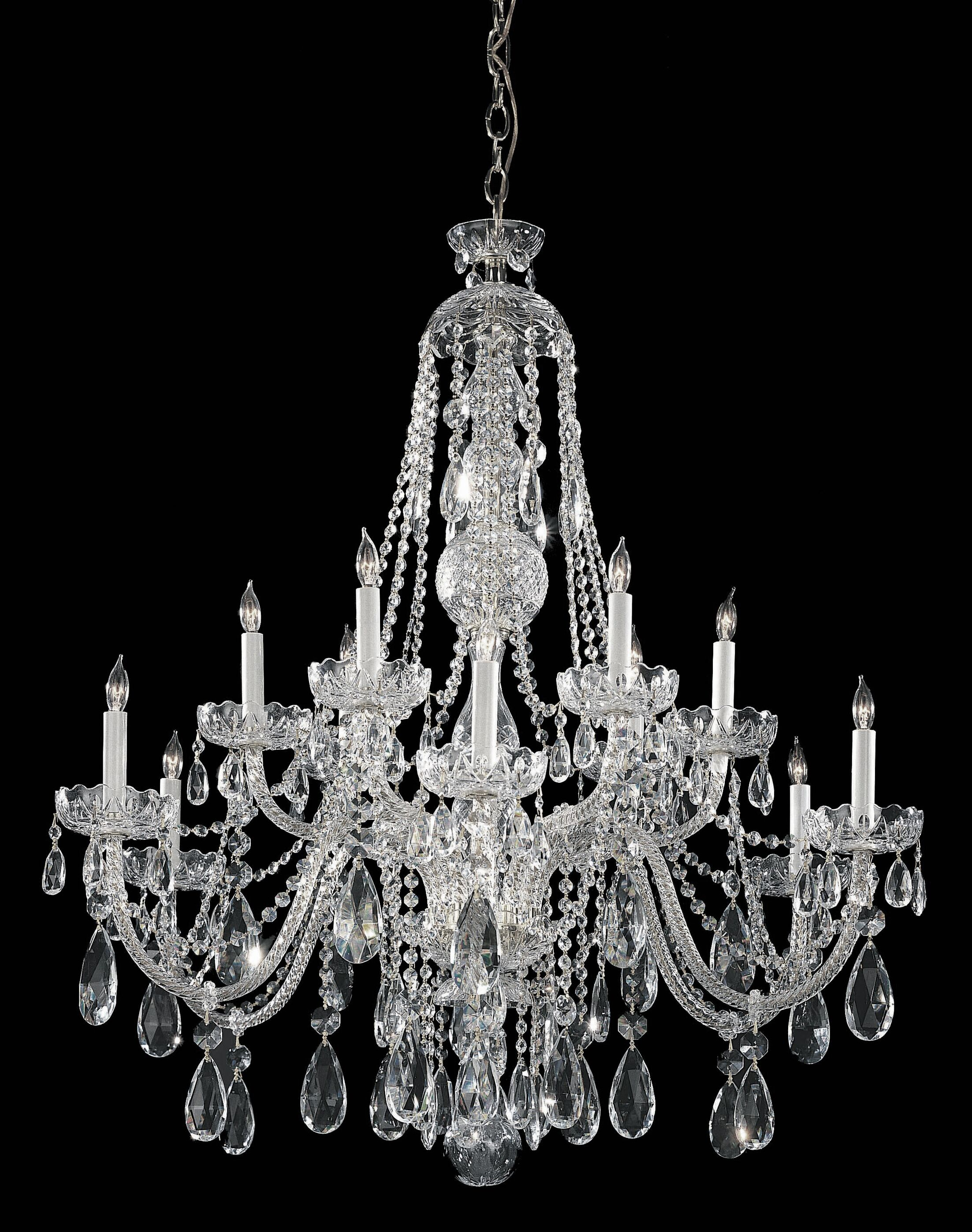 Milan 12-Light Candle Style Chandelier Finish: Chrome, Crystal Type: Majestic Wood Polished
