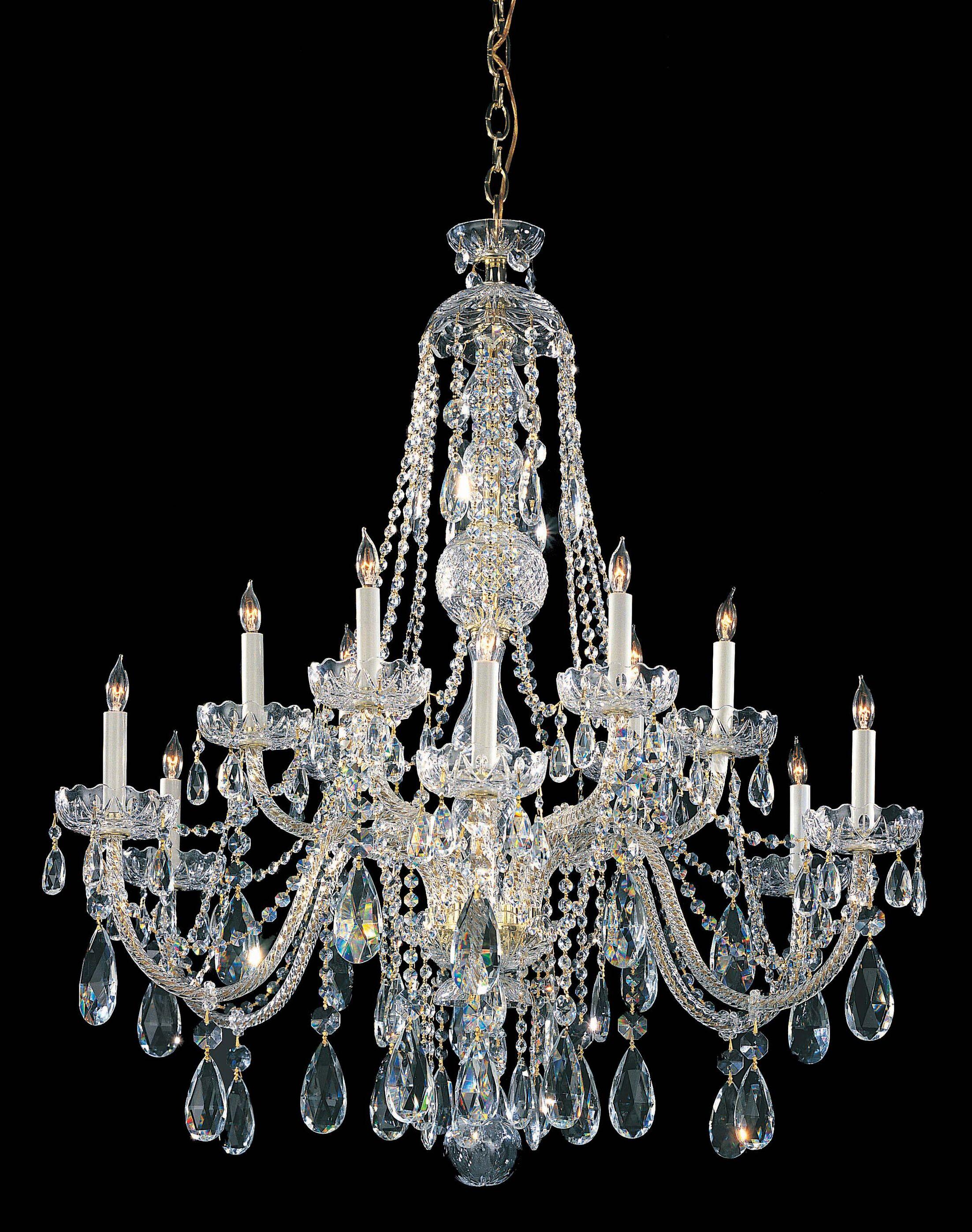 Milan 12-Light Candle Style Chandelier Finish: Polished Brass, Crystal Type: Majestic Wood Polished