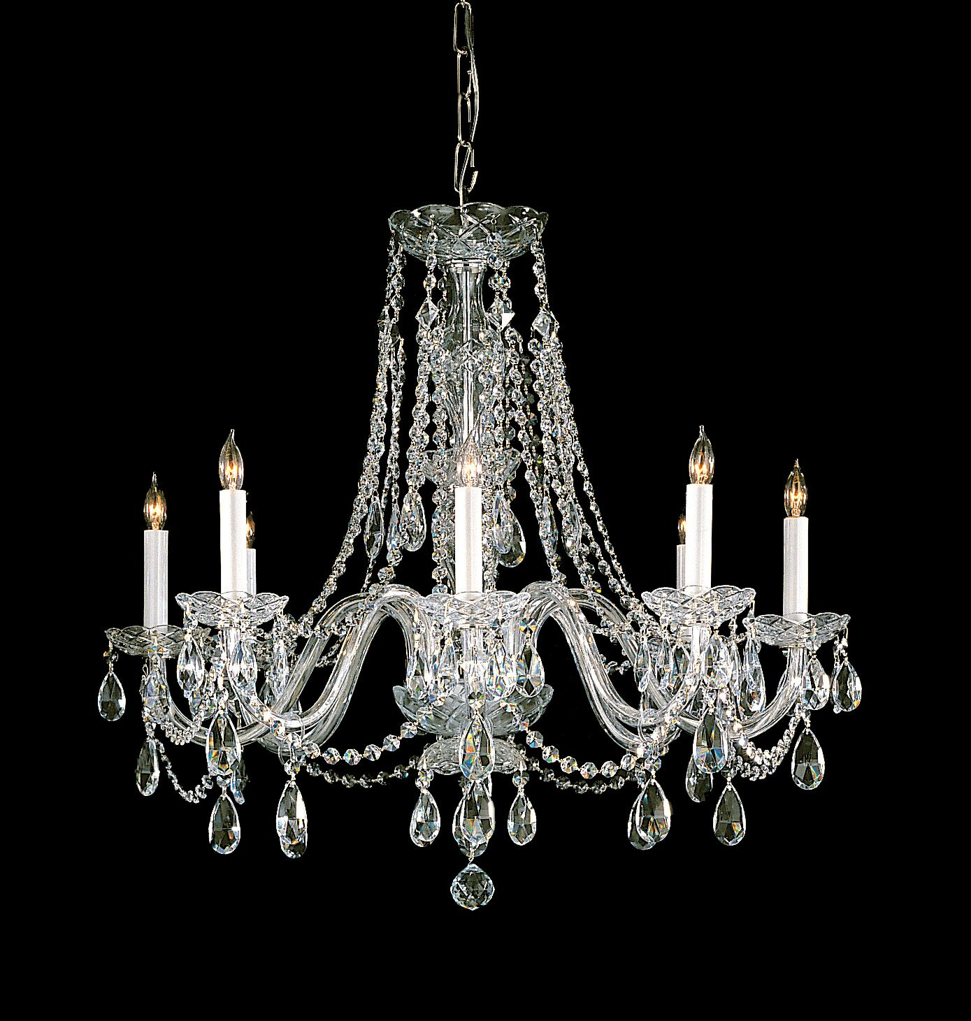 Milan 8-Light Candle Style Chandelier Crystal Type/Finish: Swarovski Spectra/Polished Brass