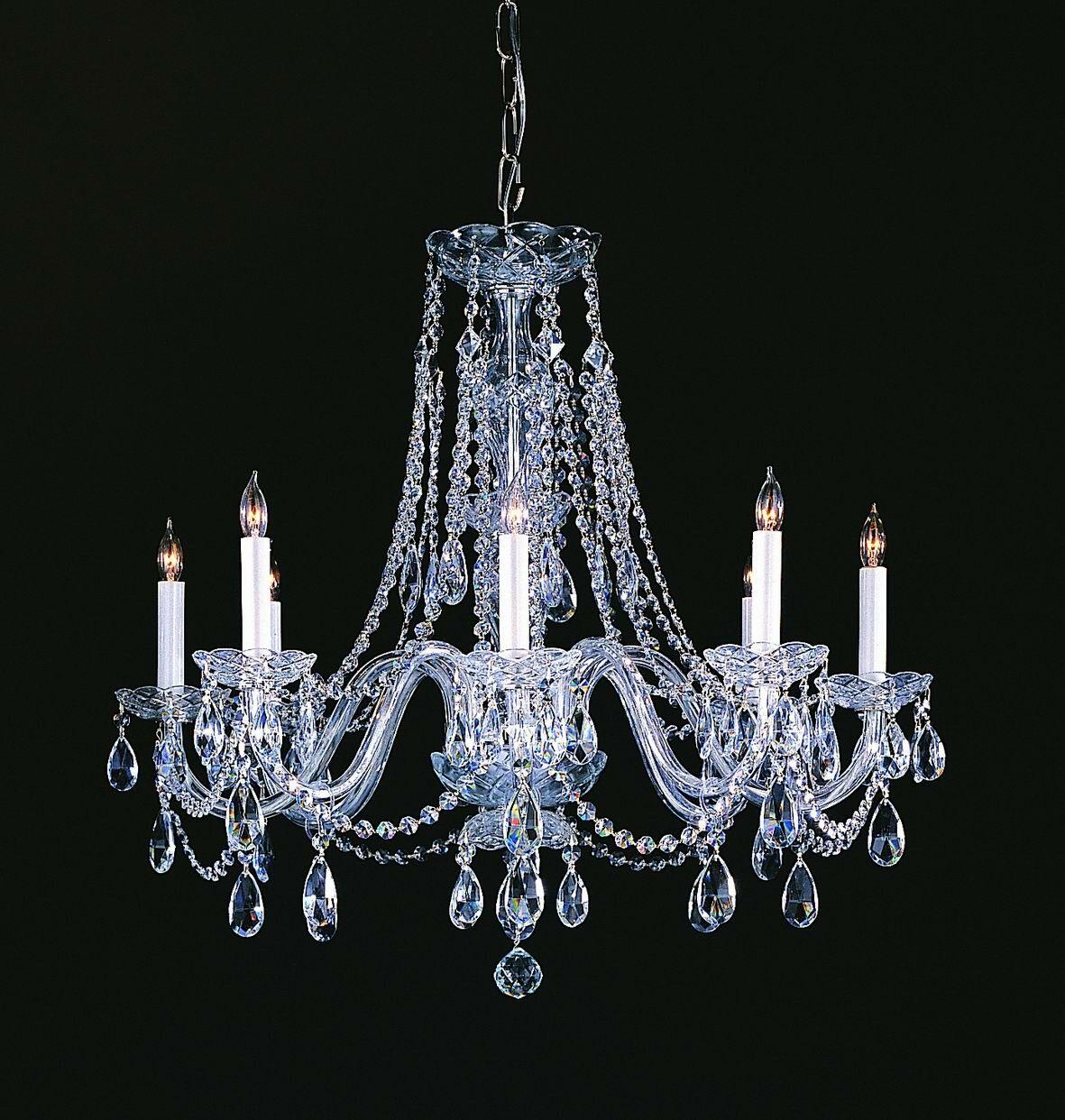 Milan 8-Light Candle Style Chandelier Crystal Type/Finish: Majestic Wood Polished/Chrome