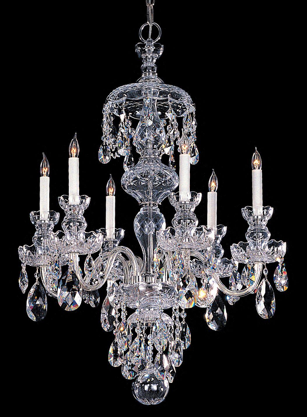 Milan 6-Light Candle Style Chandelier Finish: Chrome, Crystal Type: Majestic Wood Polished