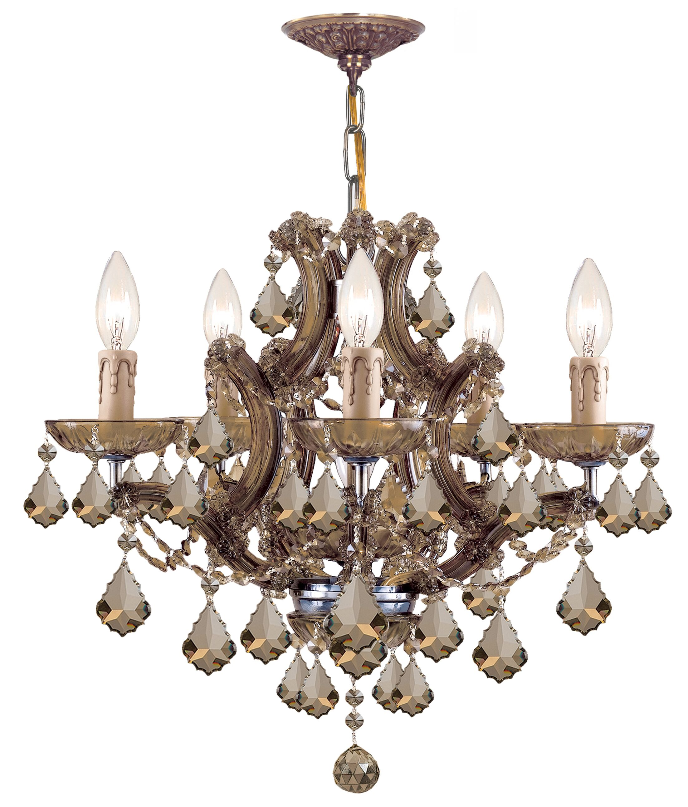 Milan 6-Light Crystal Chandelier Crystal Type: Golden Teak Polished, Finish: Aged Brass