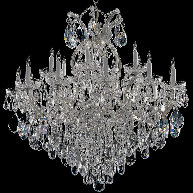 Milan 19-Light Candle Style Chandelier Finish: Chrome, Crystal Type: Swarovski Spectra