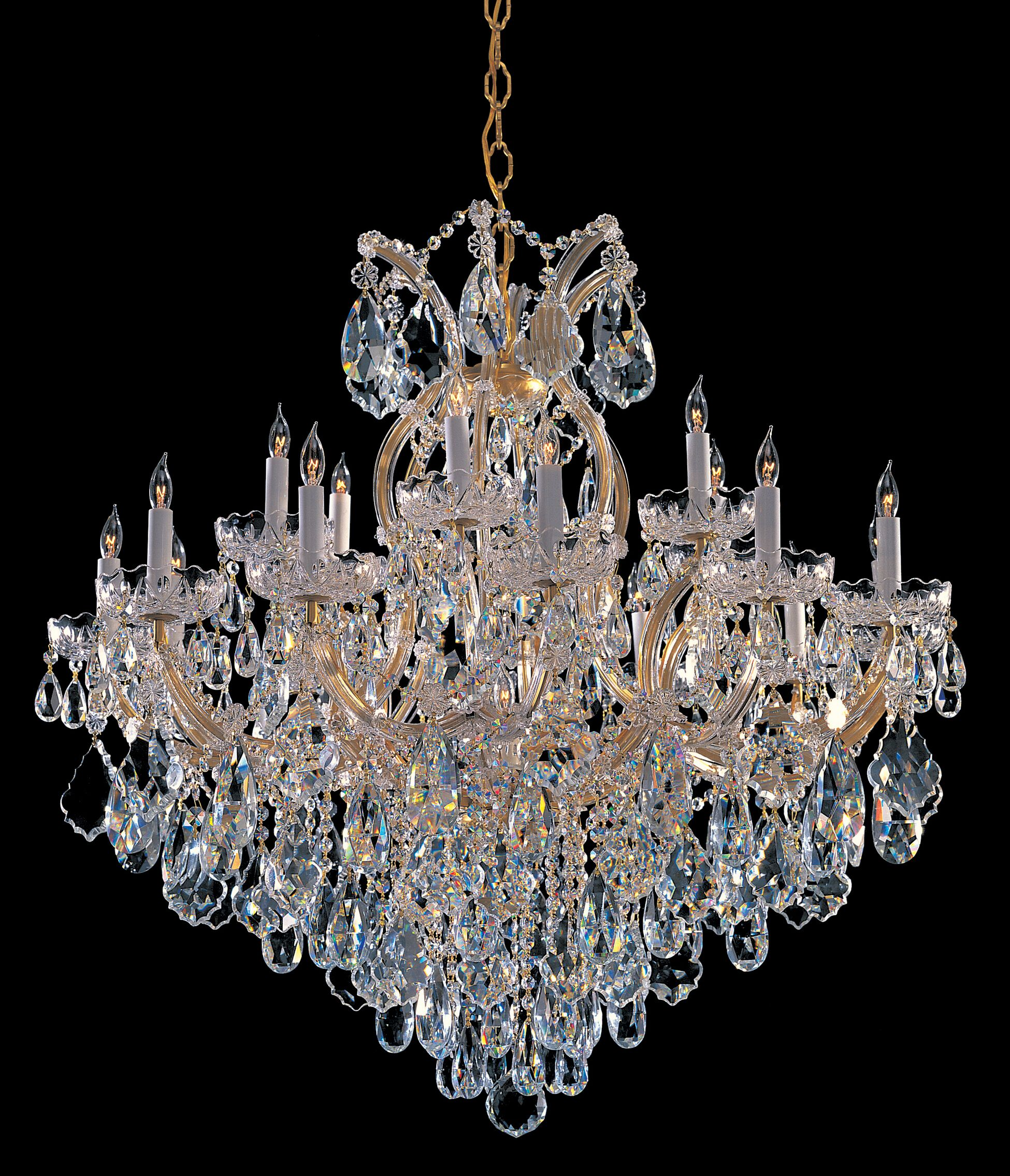Milan 19-Light Candle Style Chandelier Finish: Gold, Crystal Type: Swarovski Strass