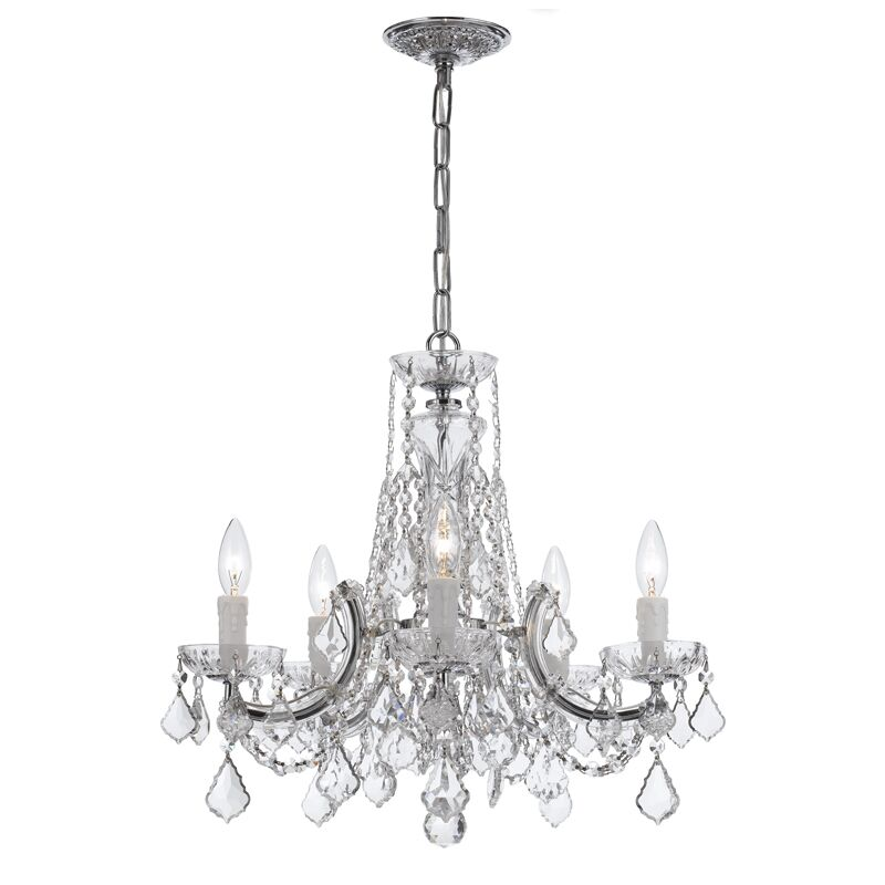 Milan 5-Light Candle Style Chandelier Crystal Type/Finish: Majestic Wood Polished/Chrome