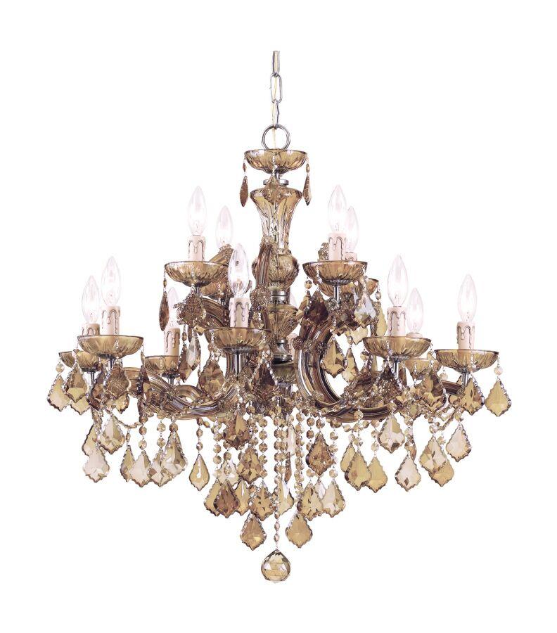 Milan 12-Light Candle Style Chandelier Crystal Type: Golden Teak Strass