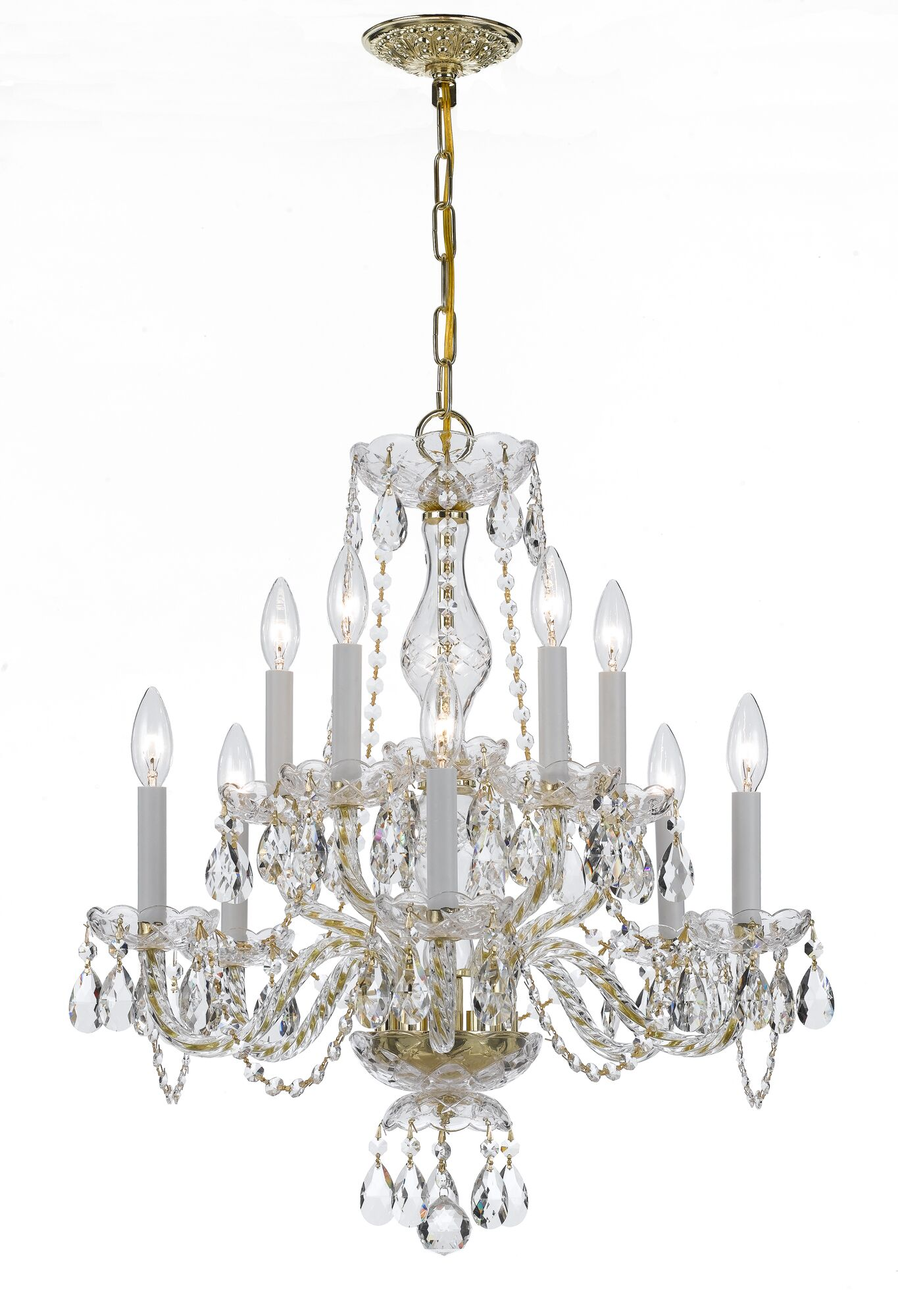 Hetrick 10-Light Candle-Style Chandelier Crystal Type/Finish: Majestic Wood Polished/Polished Brass