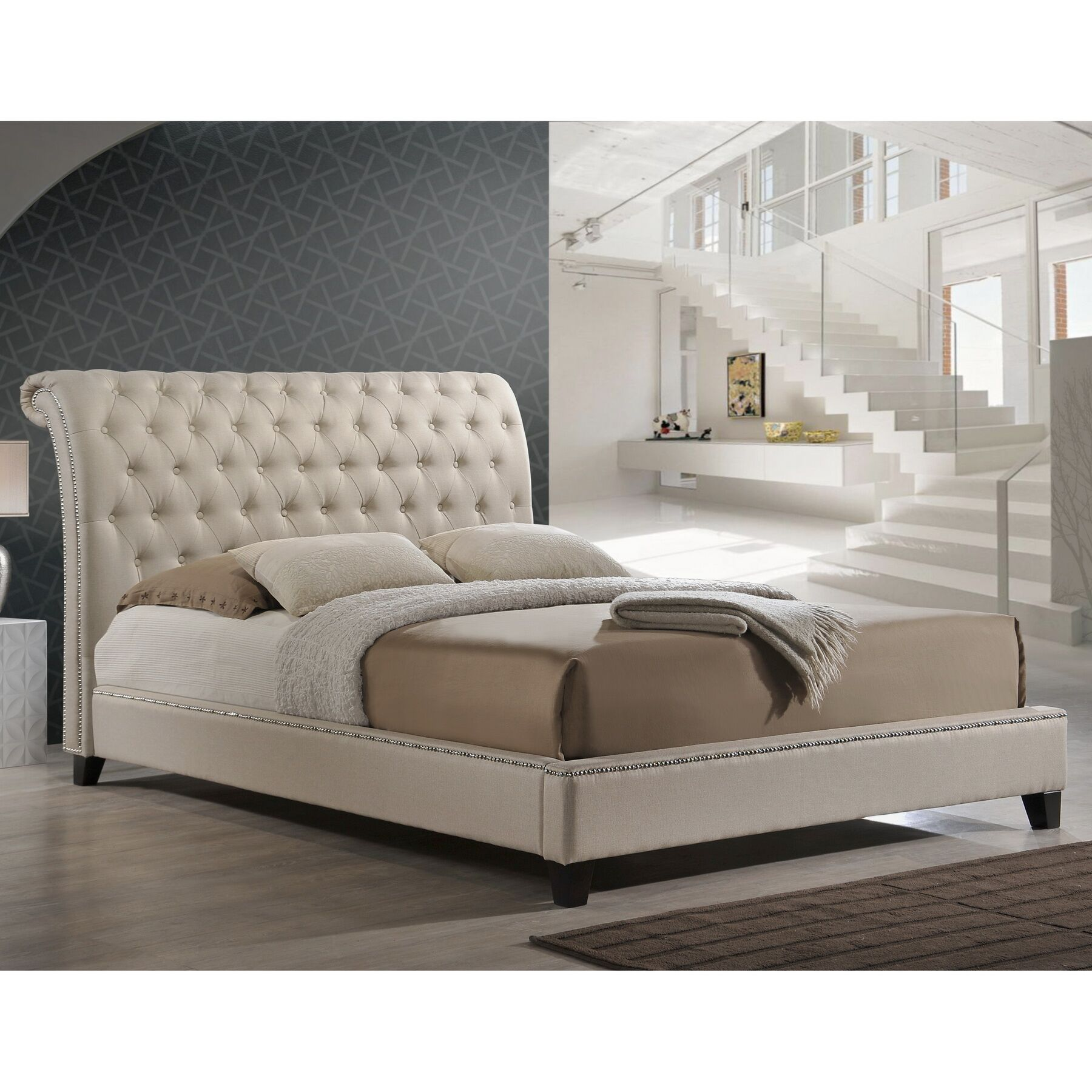 Rorie Upholstered Platform Bed Size: King, Color: Light Beige