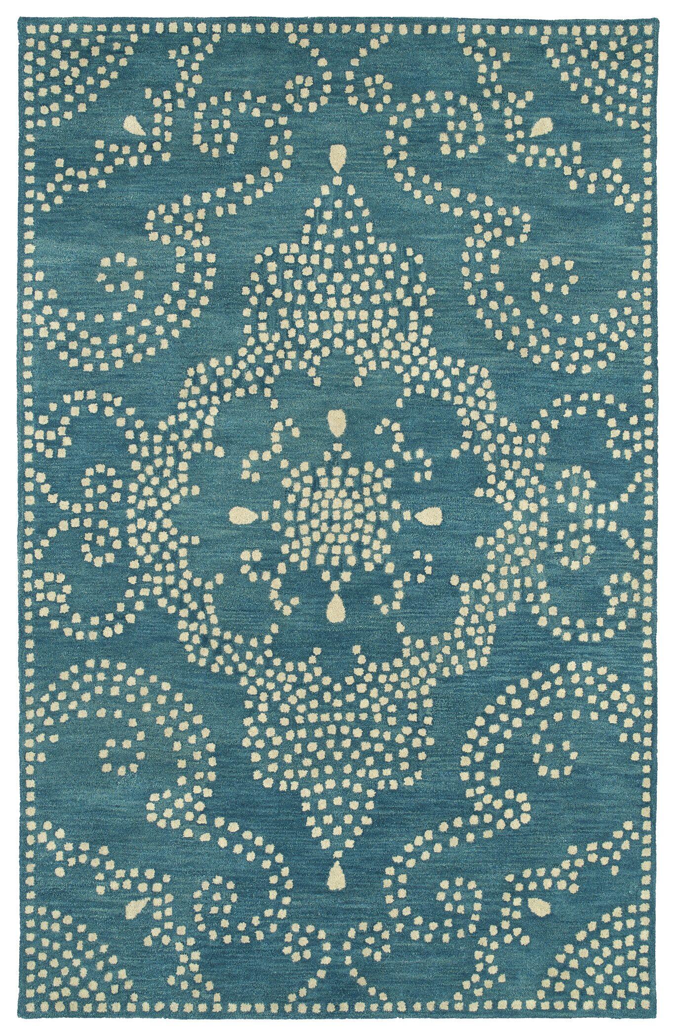 Bashford Hand Tufted Green/Beige Area Rug Rug Size: Rectangle 5' x 7'9