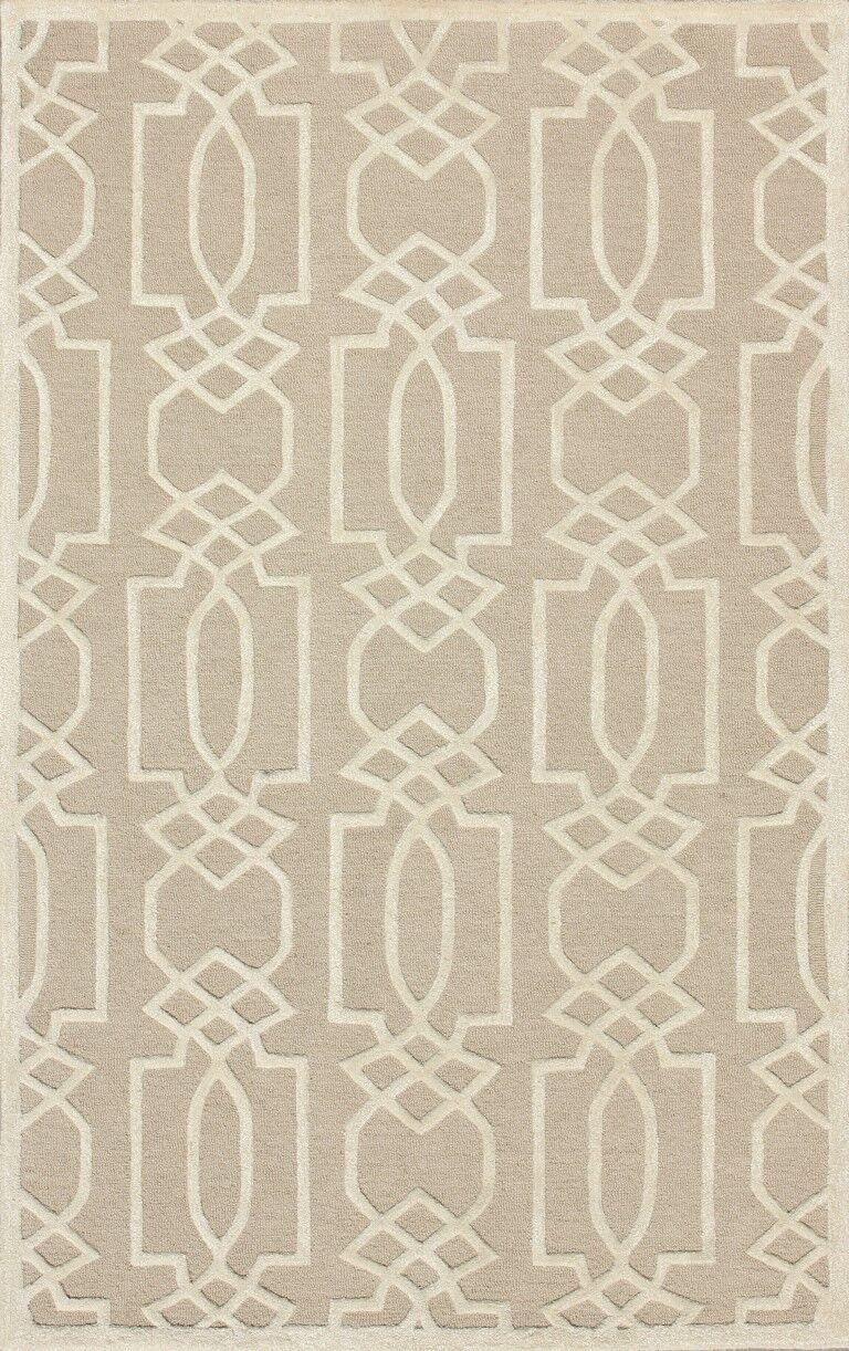 Janine Hand-Tufted Sand/Ivory Area Rug Rug Size: Round 5'