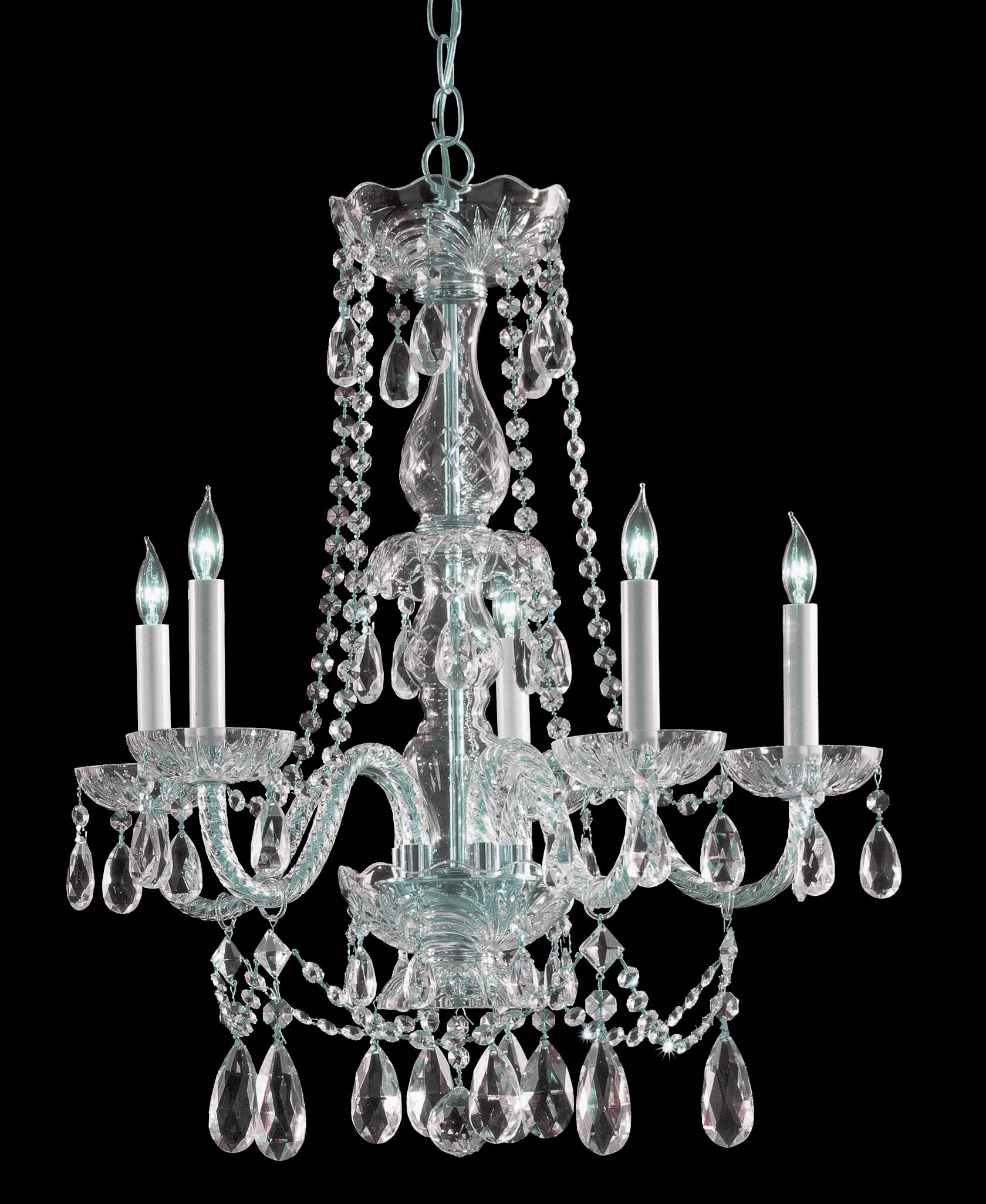 Careen Traditional 5-Light Candle Style Chandelier Finish: Polished Chrome, Crystal Type: Swarovski Elements