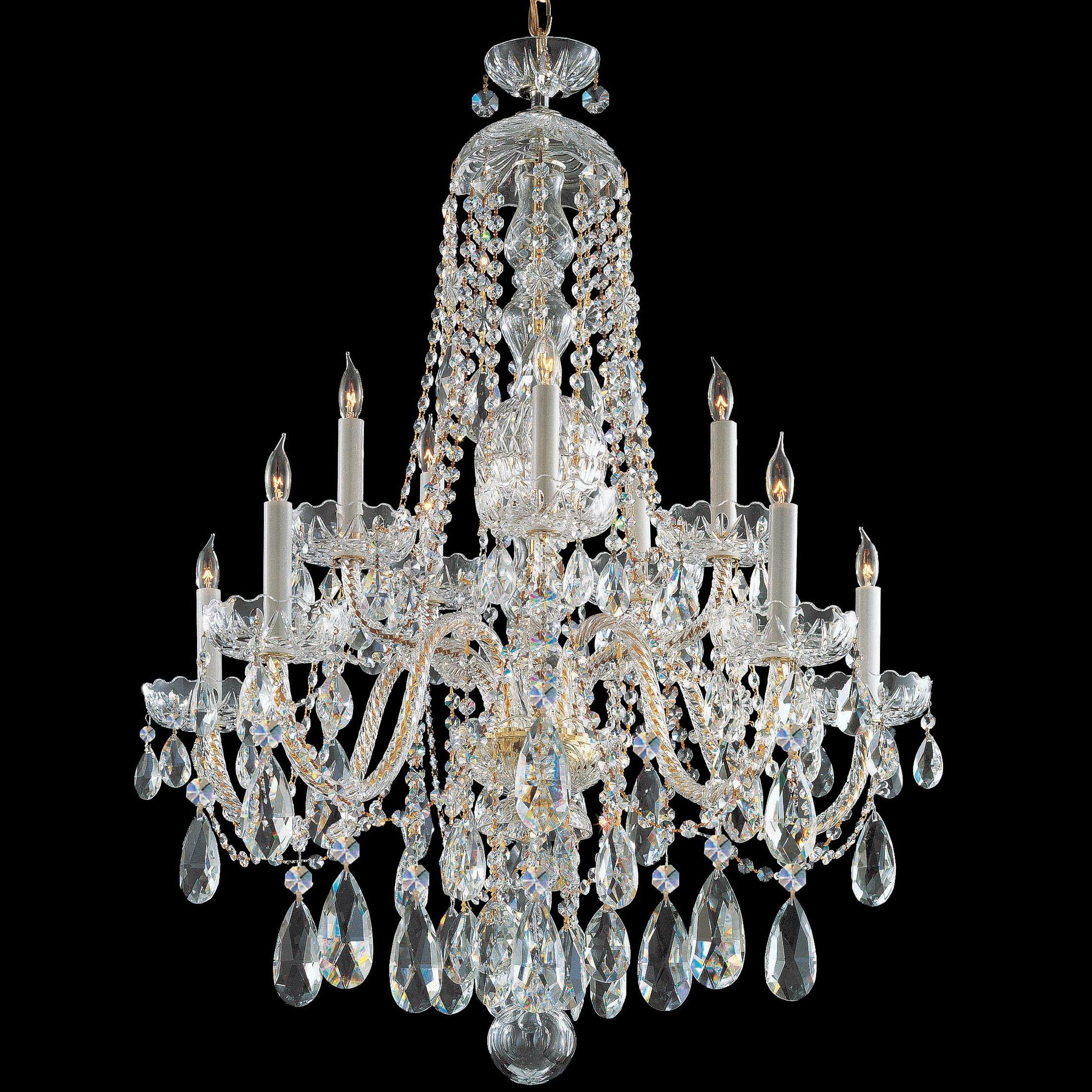 Careen 10-Light Candle Style Chandelier Crystal: Swarovski Spectra, Finish: Polished Brass