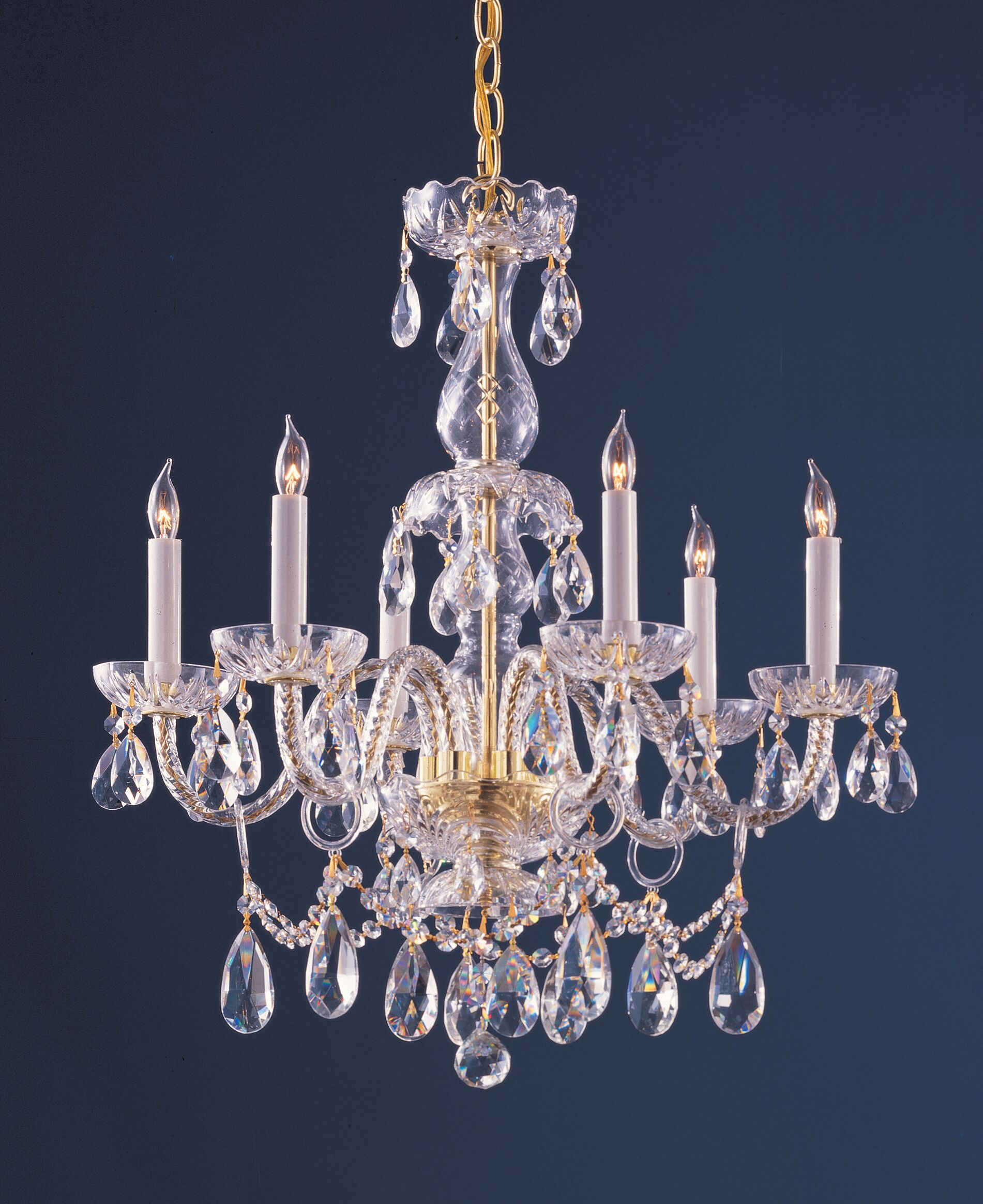 Careen Traditional 6-Light Candle Style Chandelier Crystal Type: Swarovski Elements